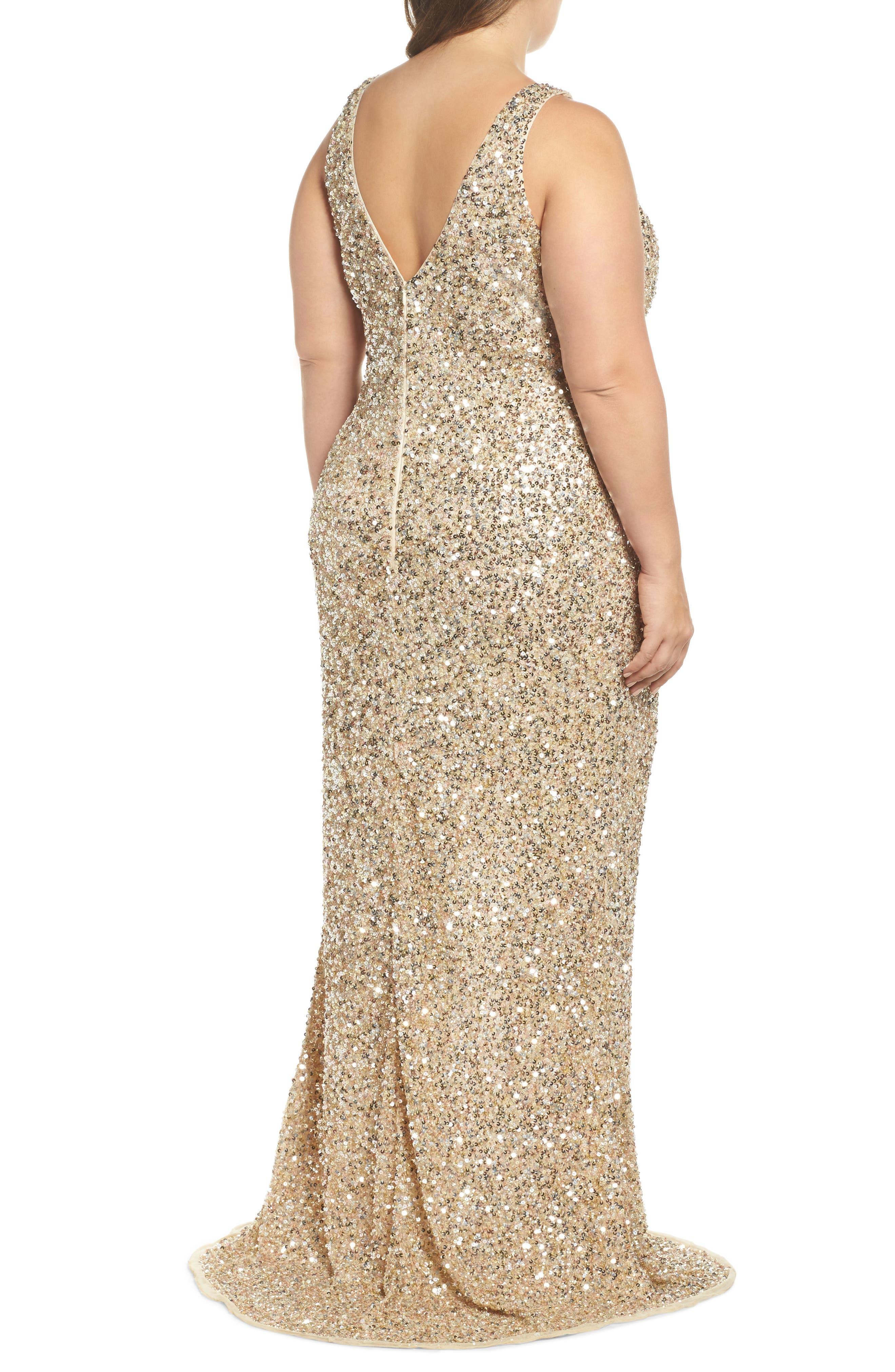 Front Slit Sequin Gown,                             Alternate thumbnail 2, color,                             Gold Multi
