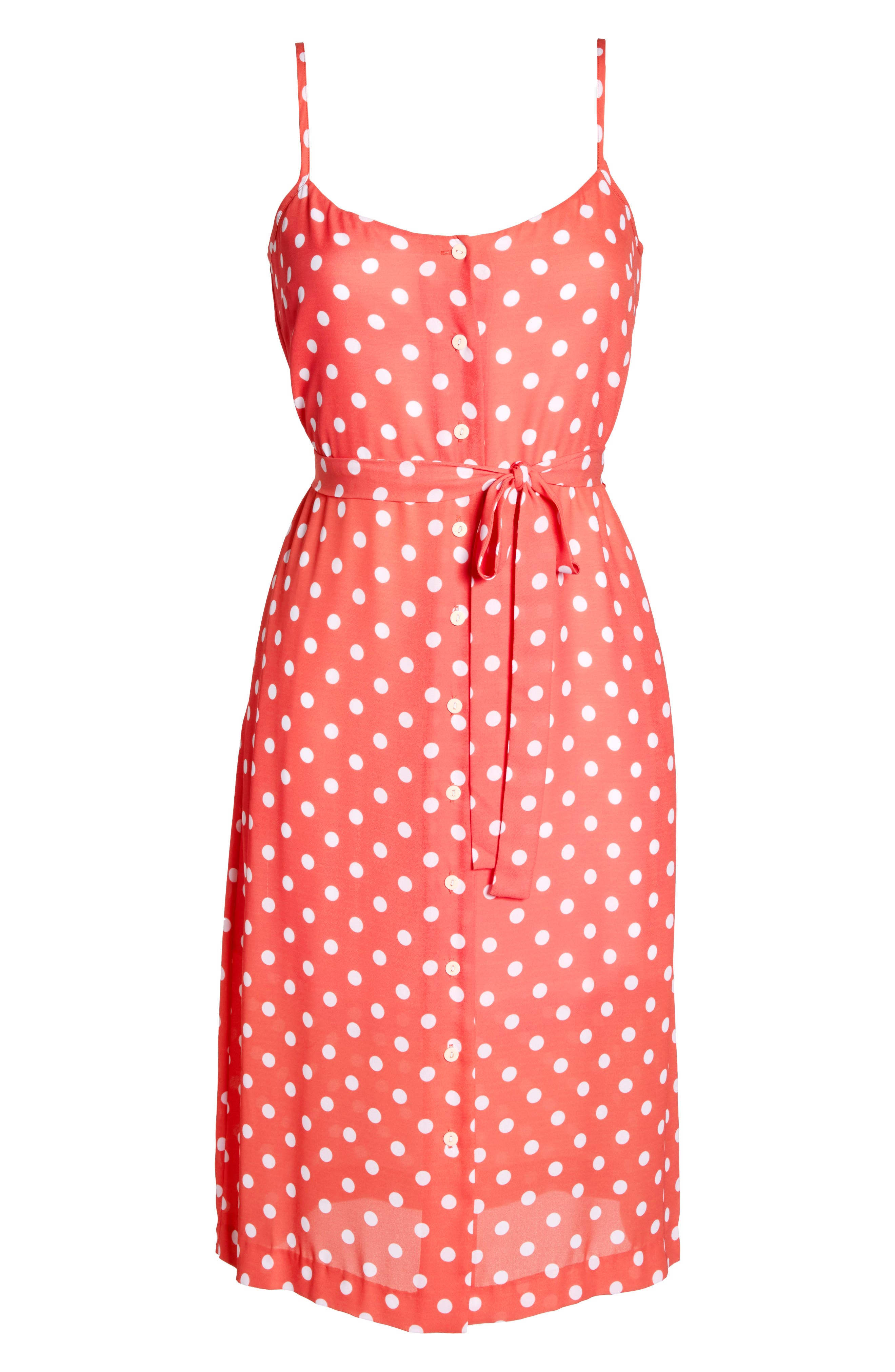 Flower Frolicking Midi Dress,                             Alternate thumbnail 6, color,                             Coral Polka Dot