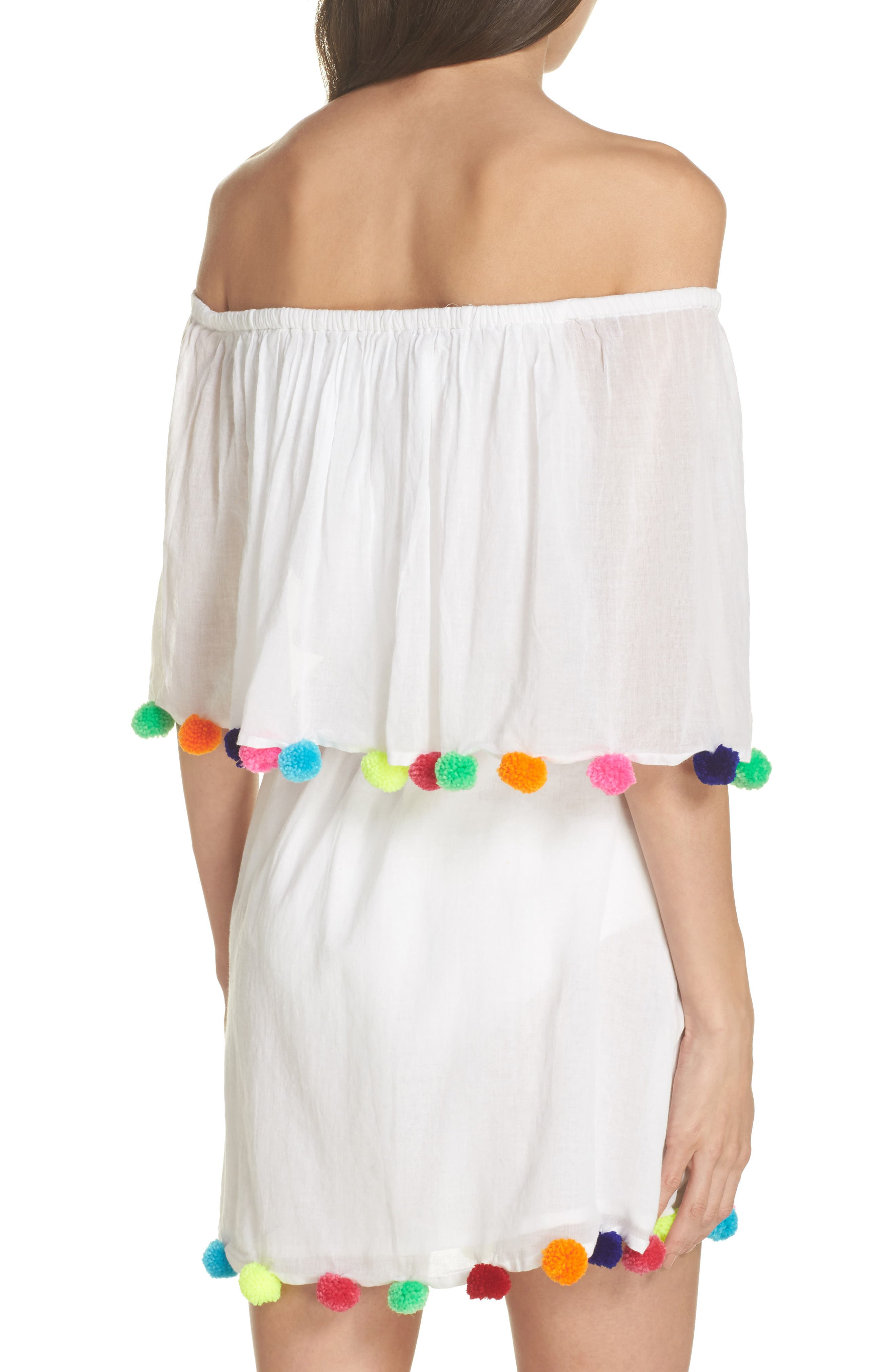 Pompom Festival Cover-Up Dress,                             Alternate thumbnail 2, color,                             White
