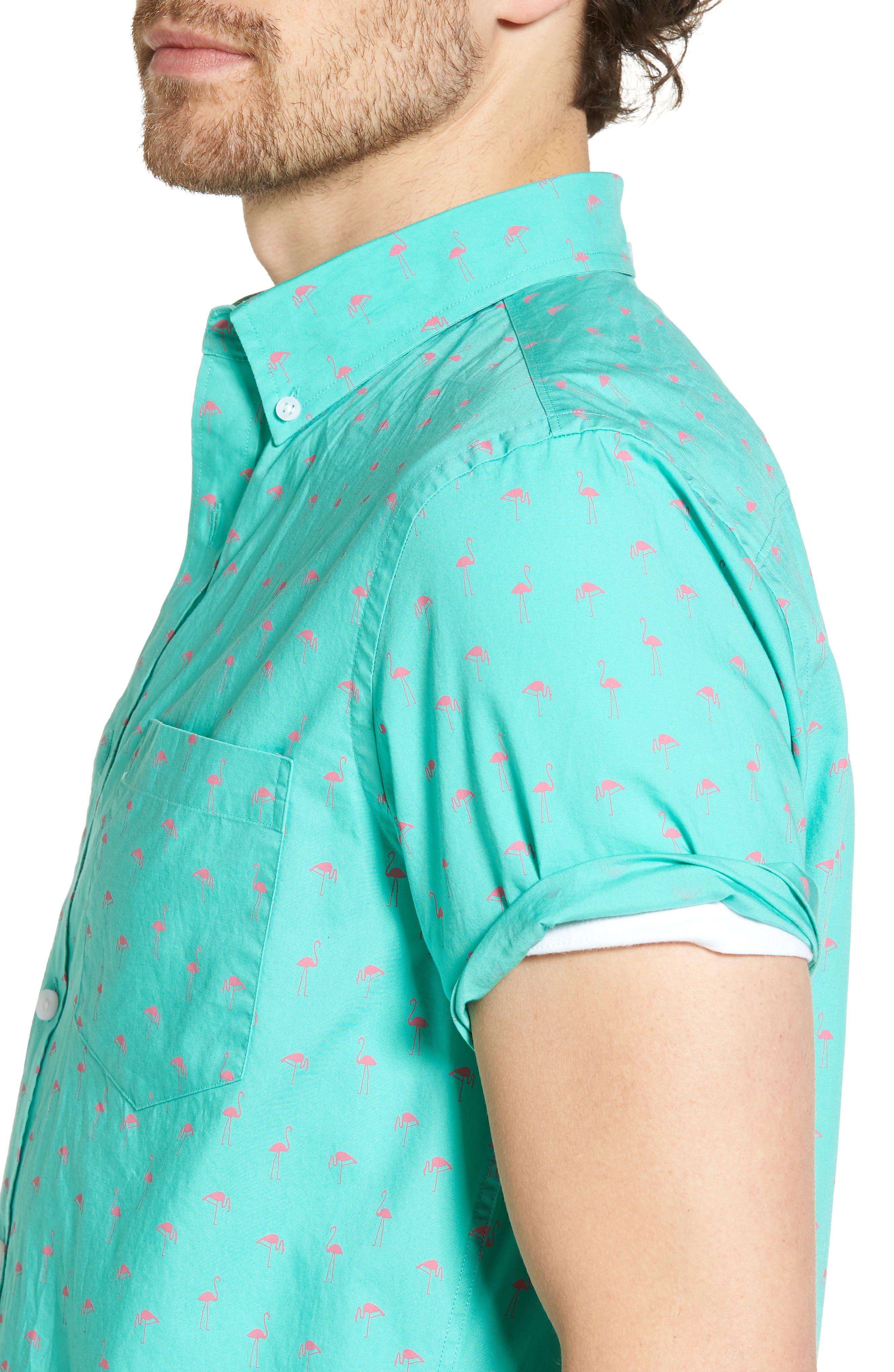 Slim Fit Flamingo Print Sport Shirt,                             Alternate thumbnail 4, color,                             Green Largo Pink Flamingos