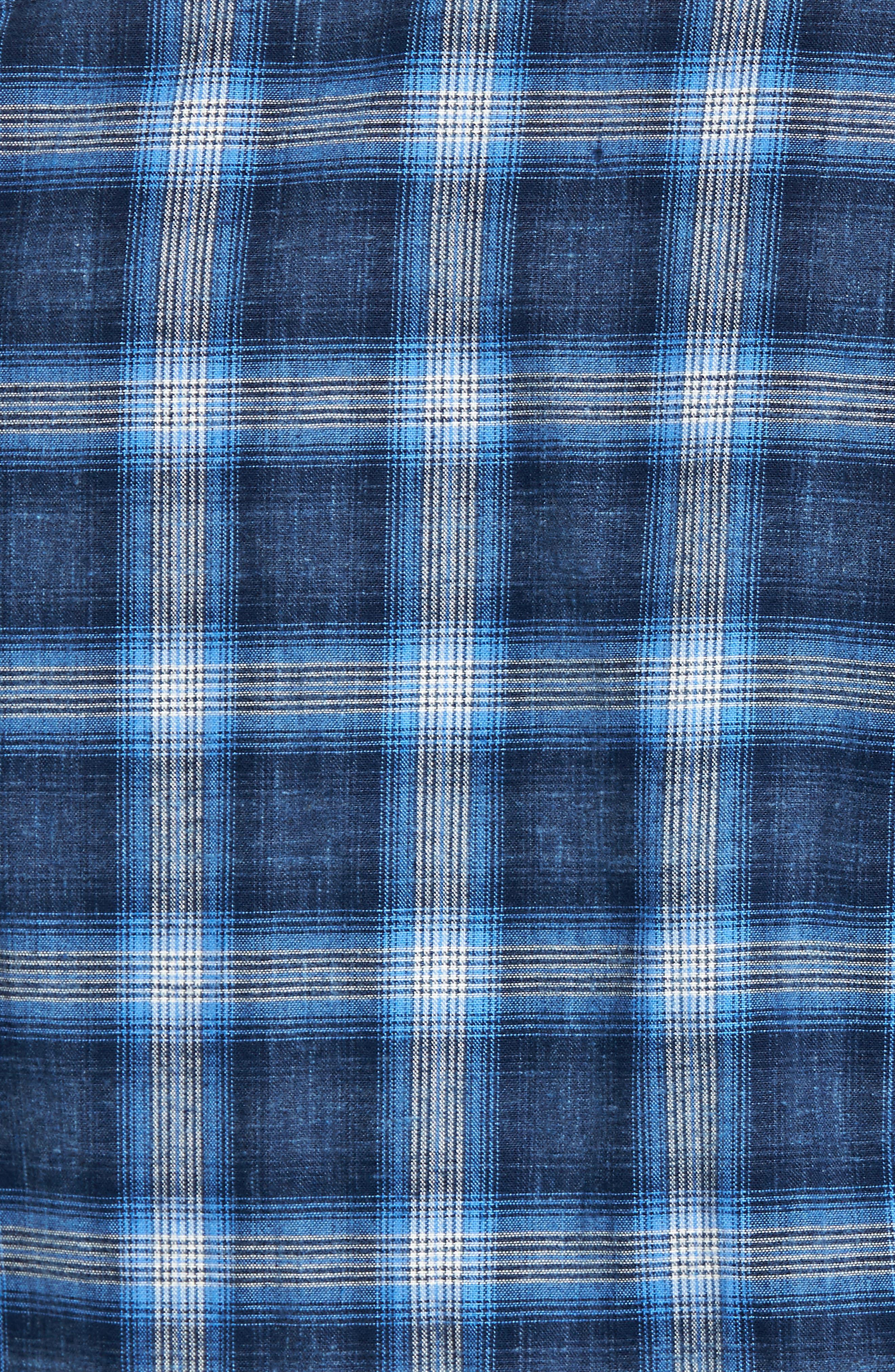 Trim Fit Plaid Sport Shirt,                             Alternate thumbnail 5, color,                             Black Blue Homespun Plaid
