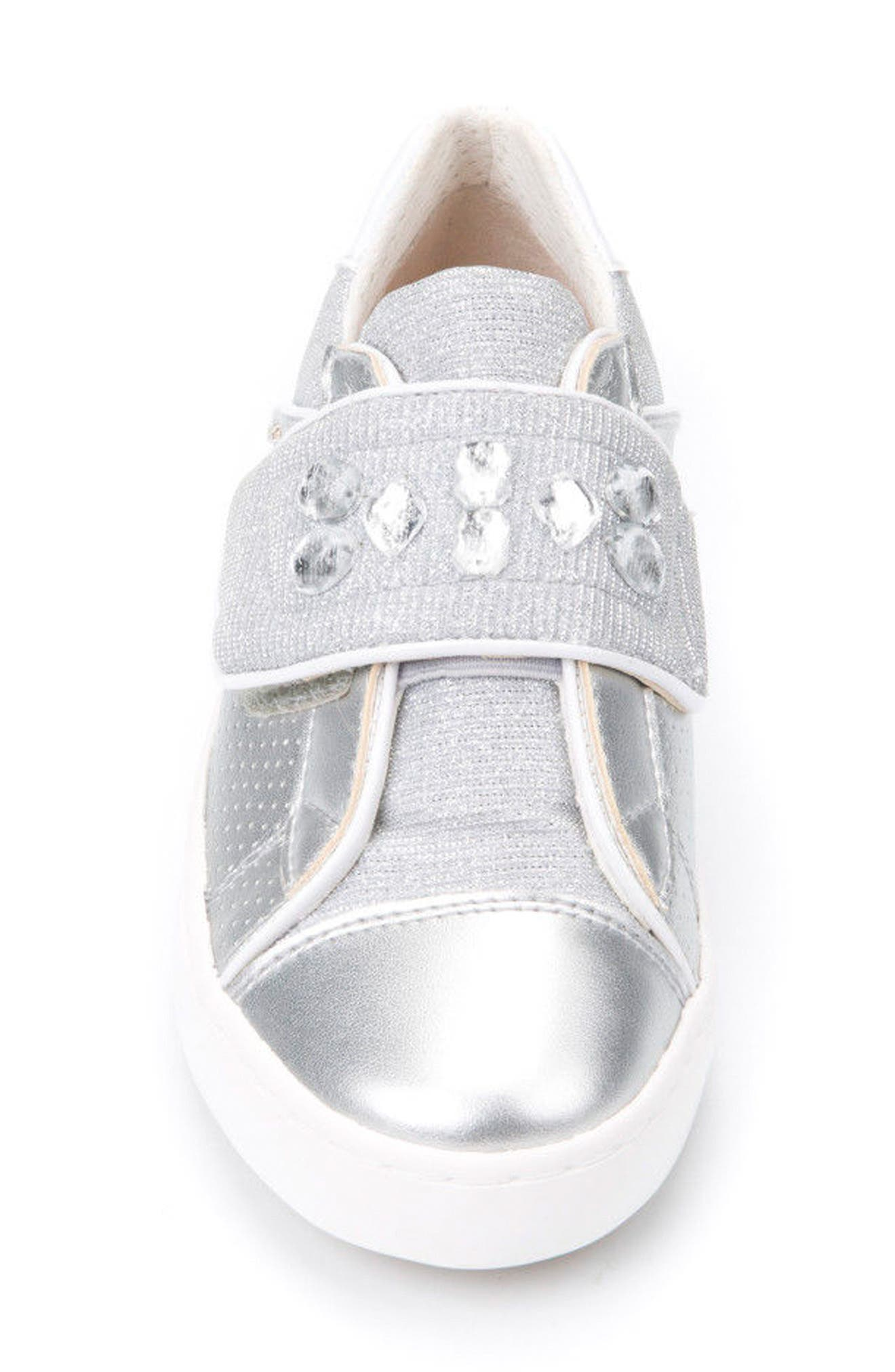 Kilwi Metallic Embellished Sneaker,                             Alternate thumbnail 4, color,                             Silver