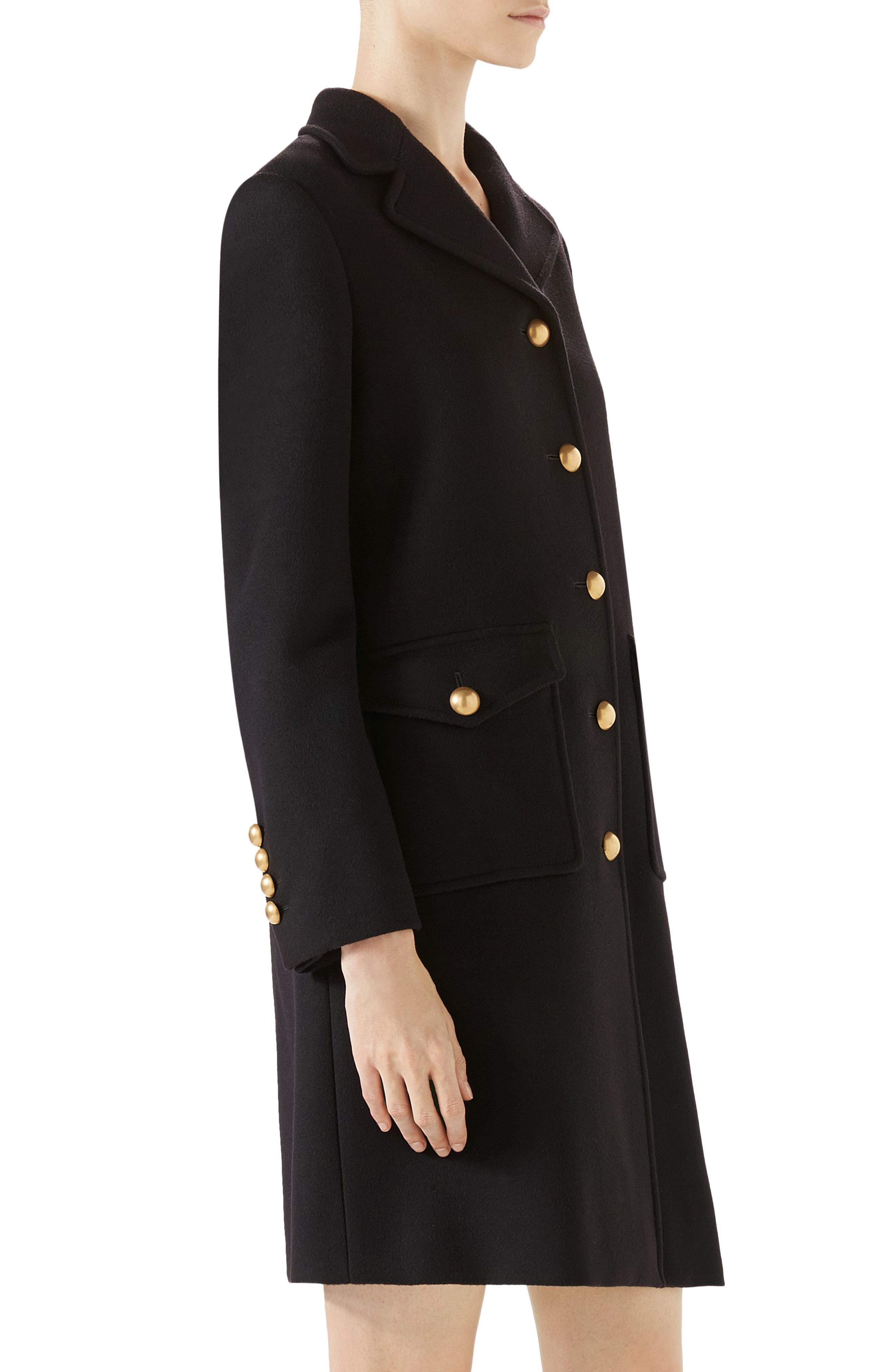 GG Wool Coat,                             Alternate thumbnail 3, color,                             Black