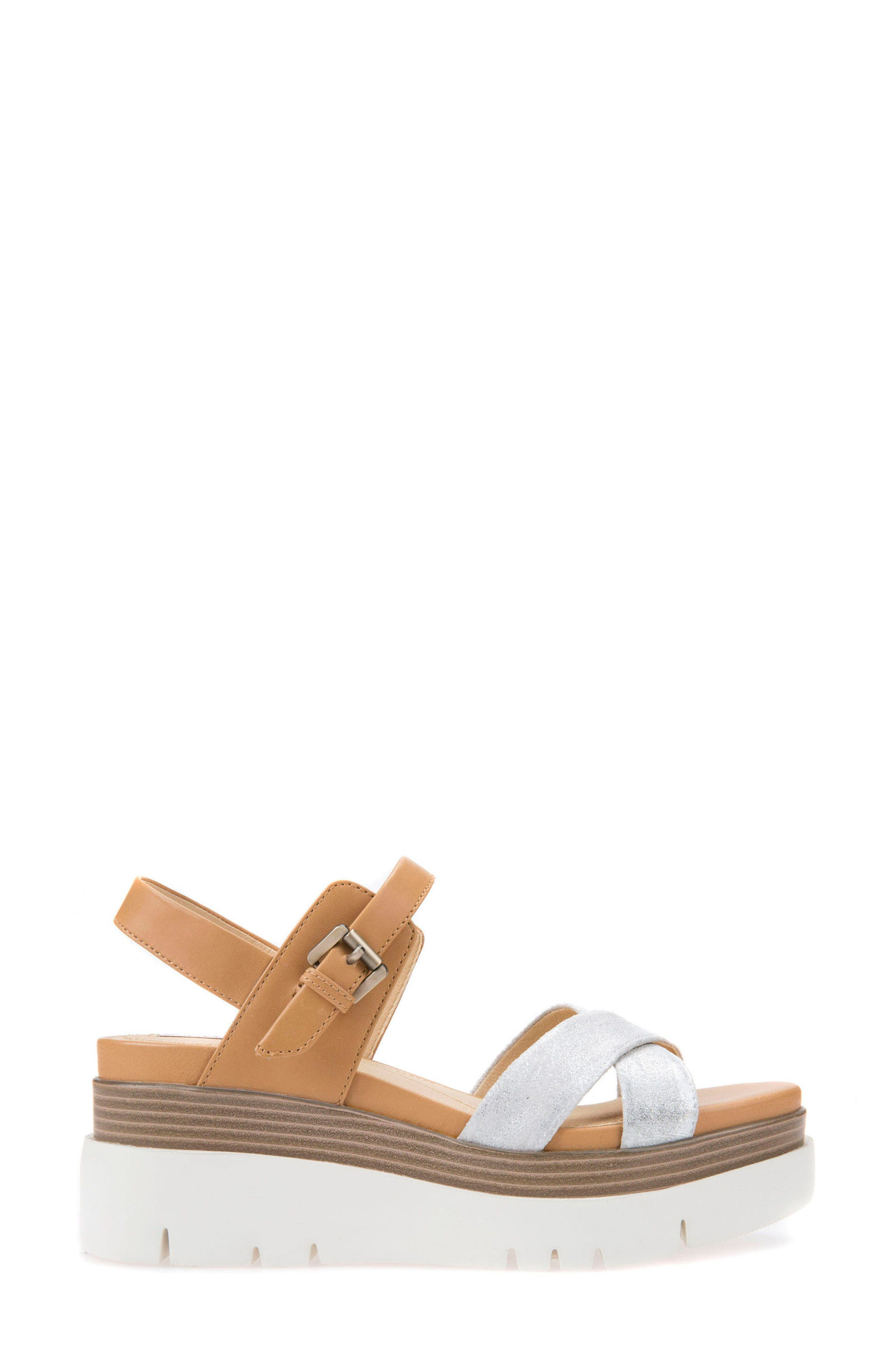 Radwa Platform Sandal,                             Alternate thumbnail 3, color,                             Off White Leather