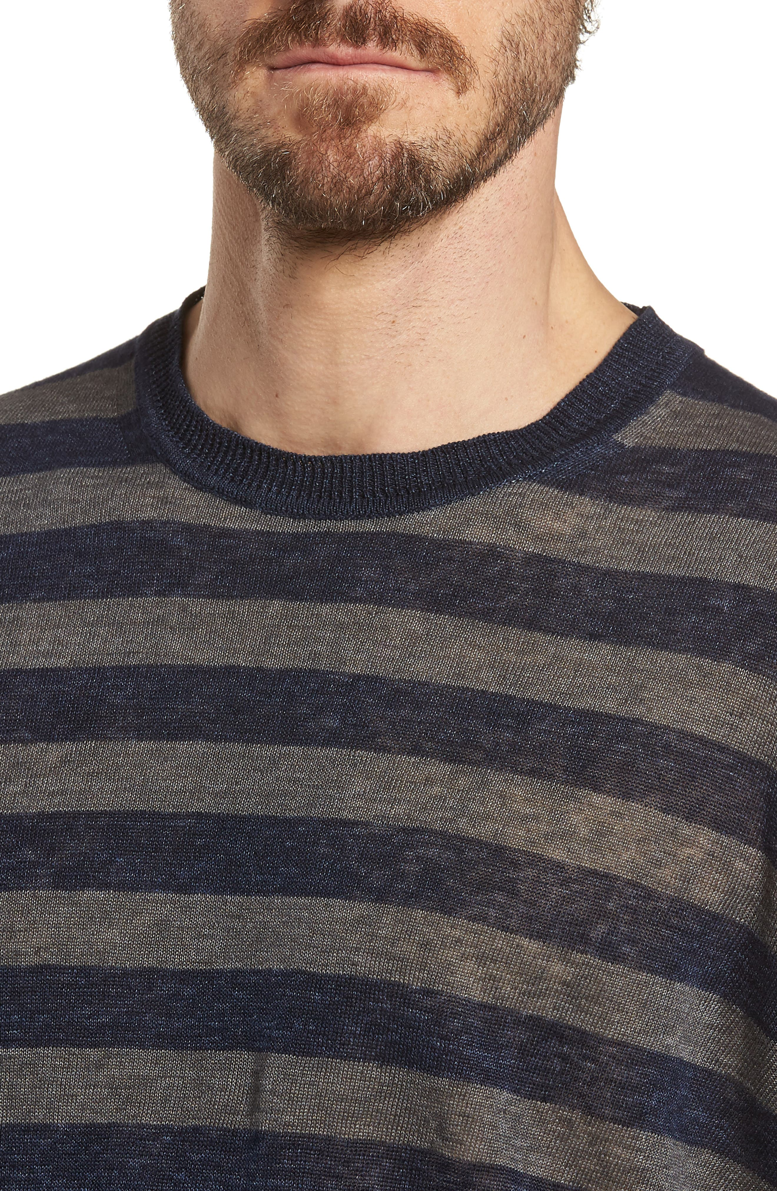 & Bros. Stripe Linen Sweater,                             Alternate thumbnail 4, color,                             Navy Stripe