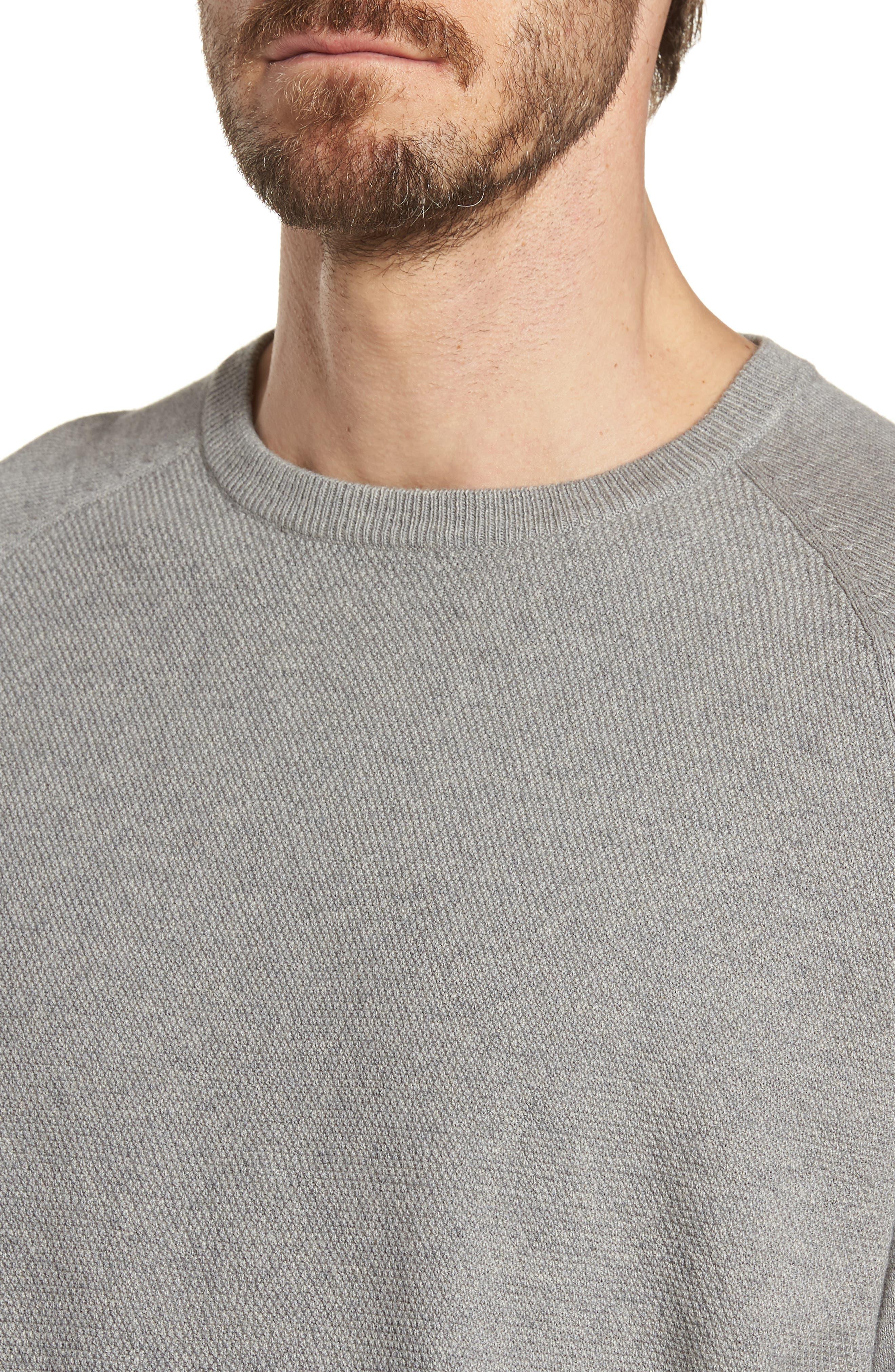 Crewneck Cotton & Cashmere Sweater,                             Alternate thumbnail 4, color,                             Grey Medium Heather