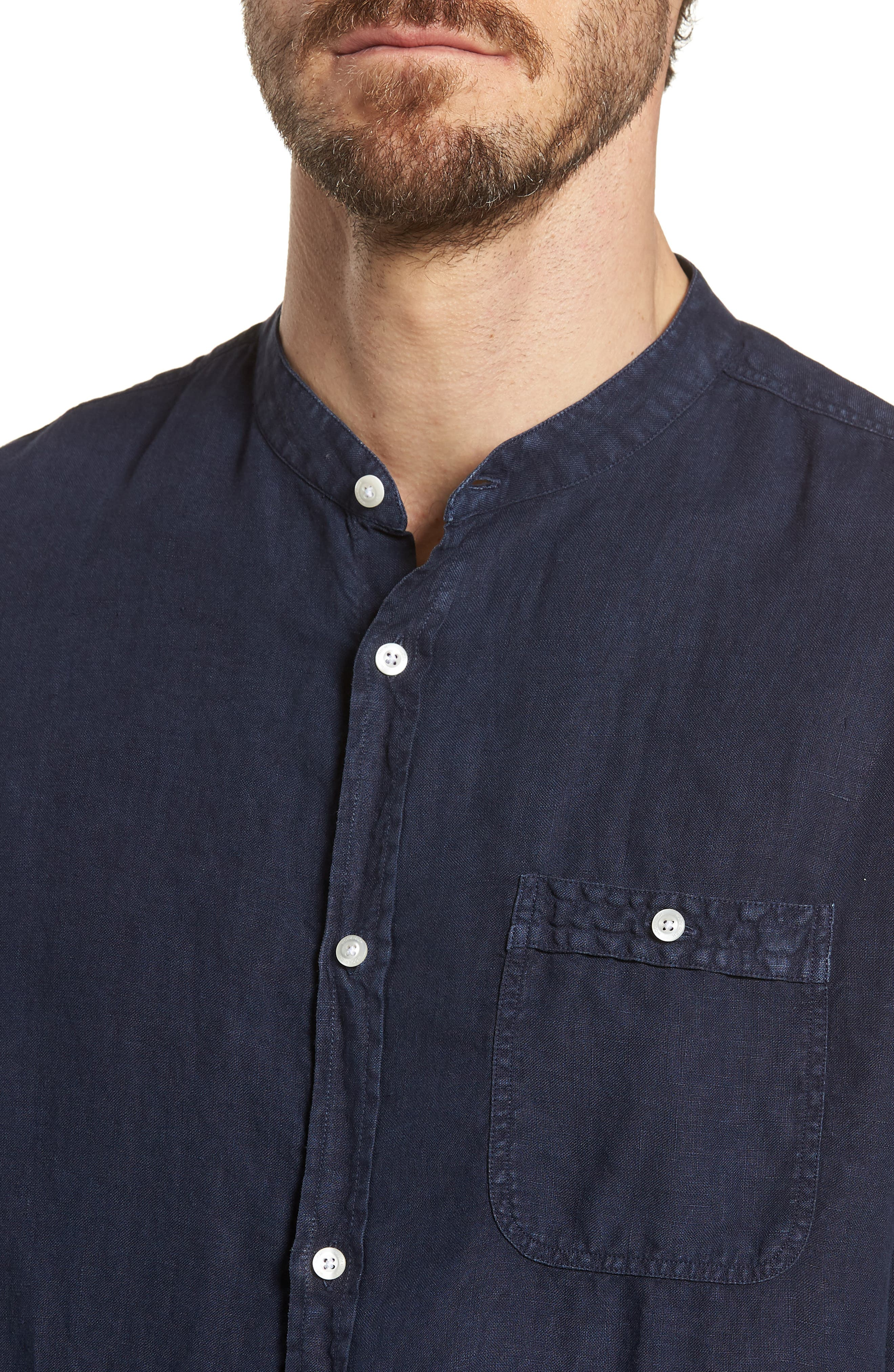 & Bros. Regular Fit Band Collar Linen Shirt,                             Alternate thumbnail 4, color,                             Mood Indigo