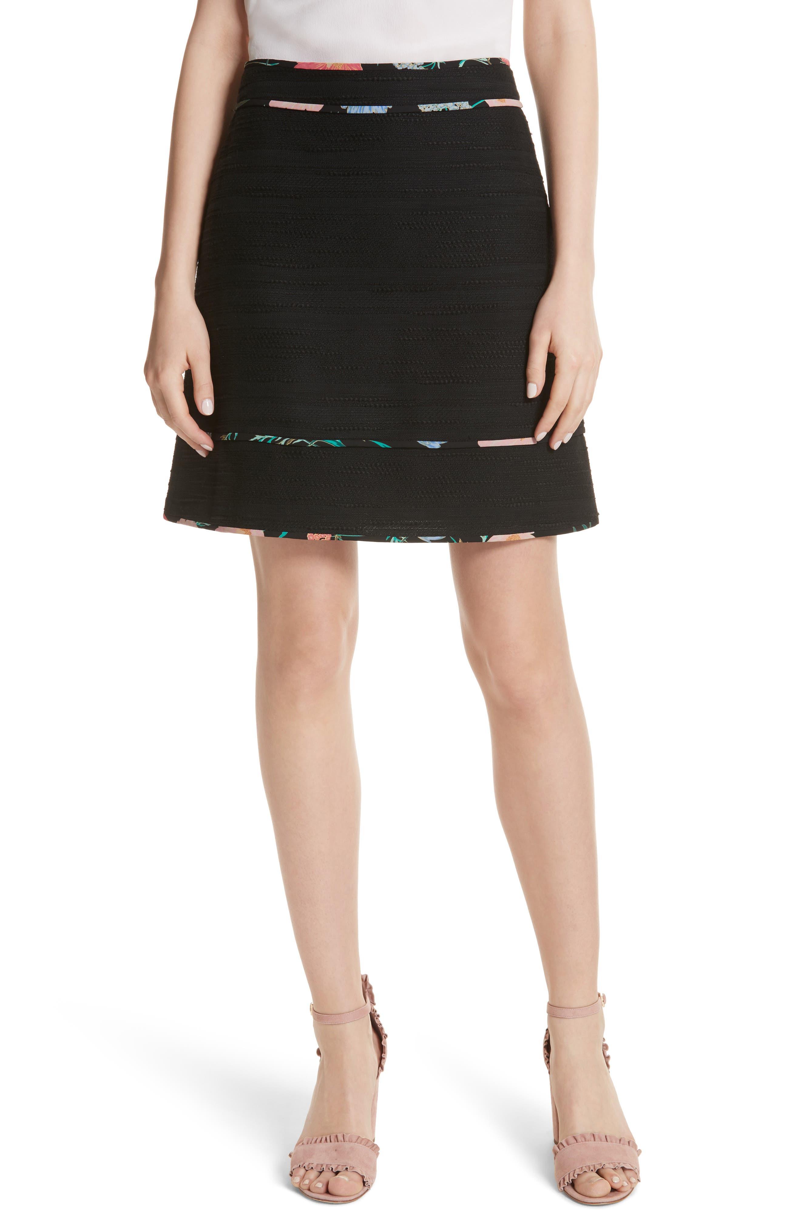 kate spade new york blossom trim tweed A-line skirt