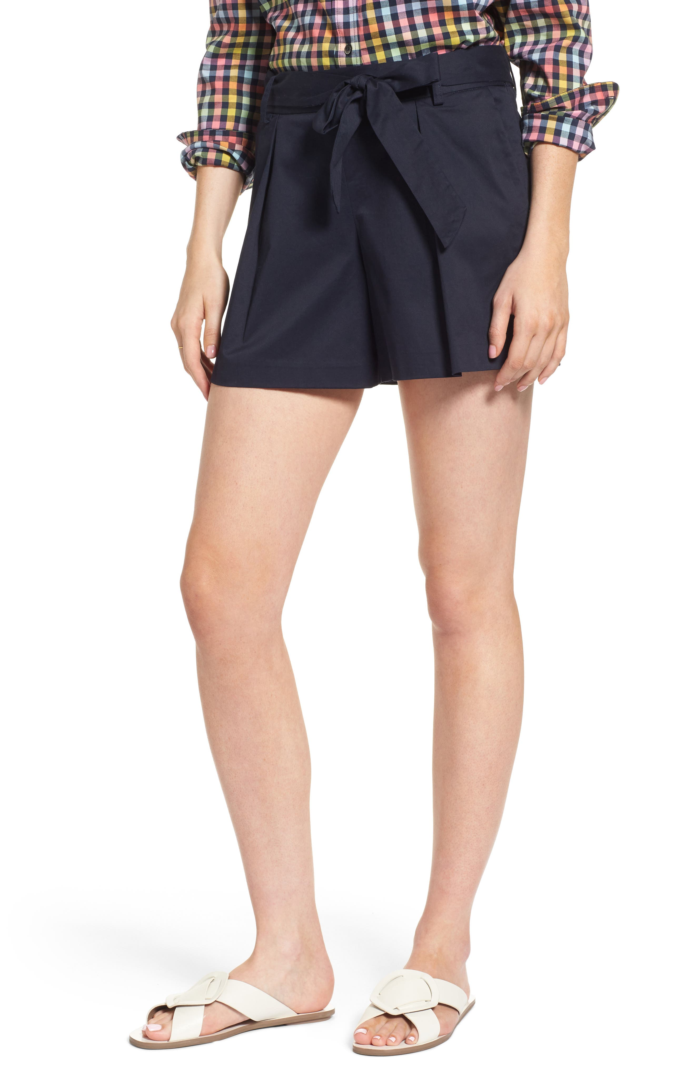 Pleated Twill Bow Front Shorts,                             Main thumbnail 1, color,                             Navy Night