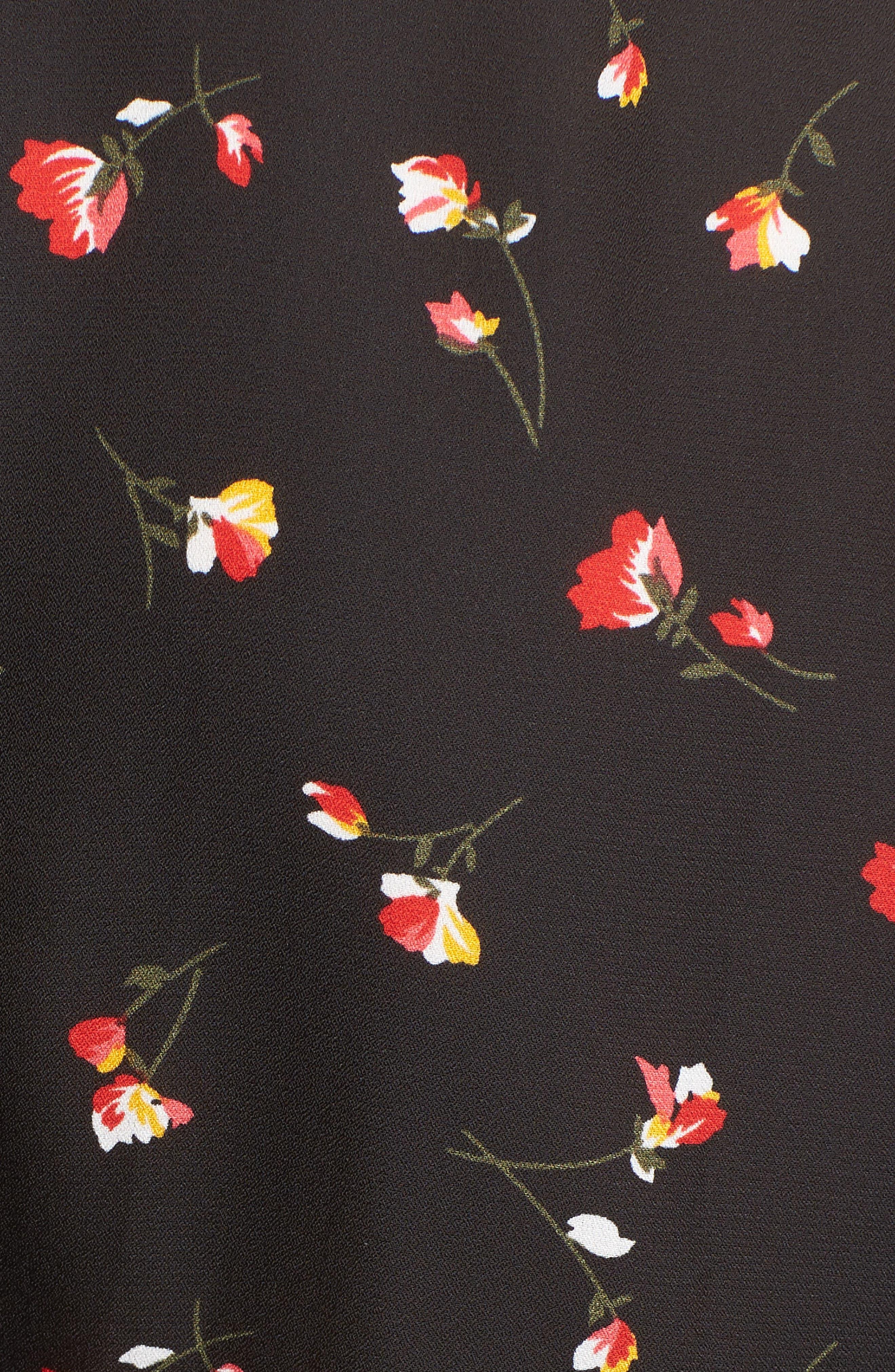 Tie Front Cutout Romper,                             Alternate thumbnail 4, color,                             Black Floral