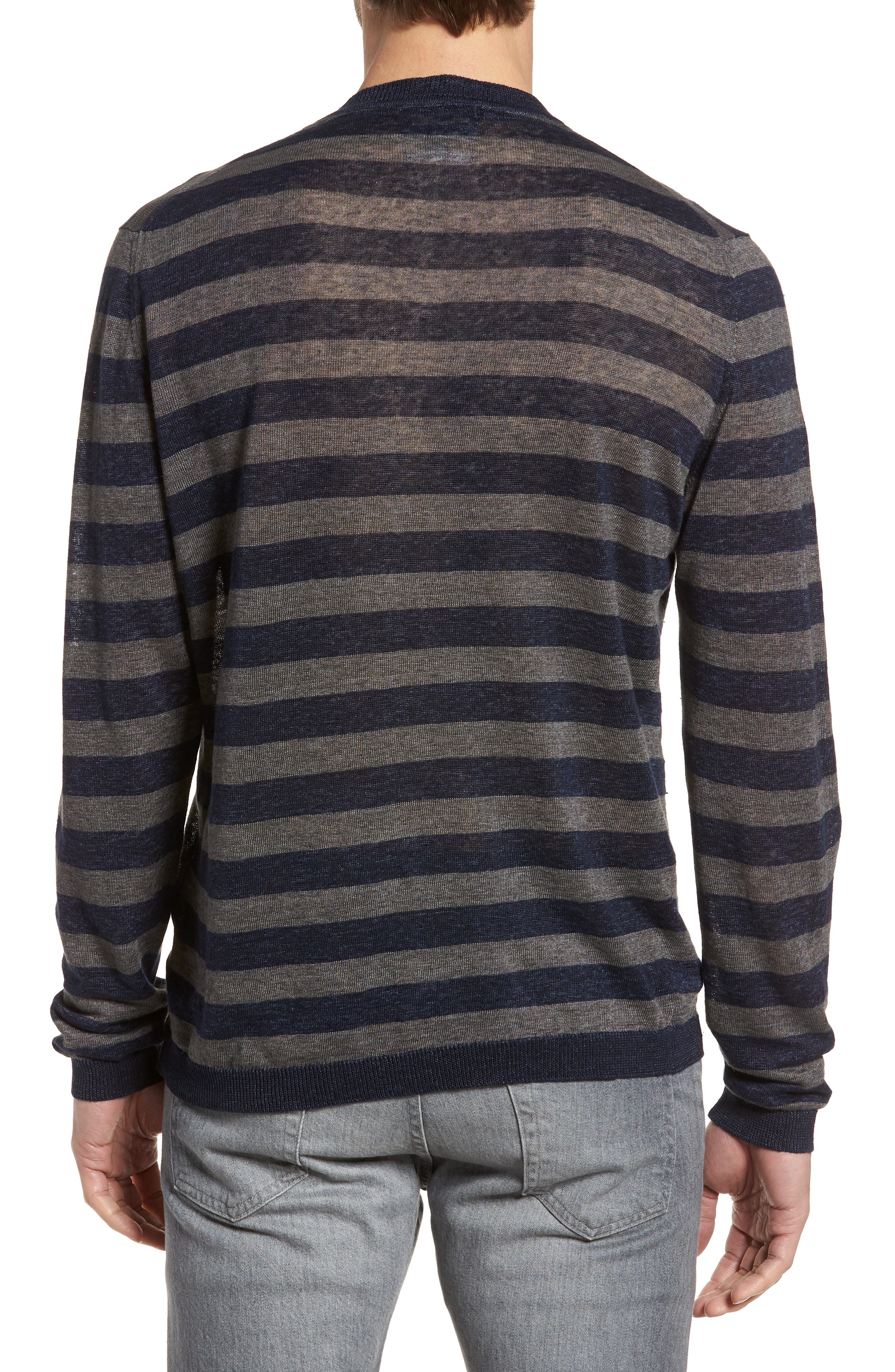 & Bros. Stripe Linen Sweater,                             Alternate thumbnail 2, color,                             Navy Stripe