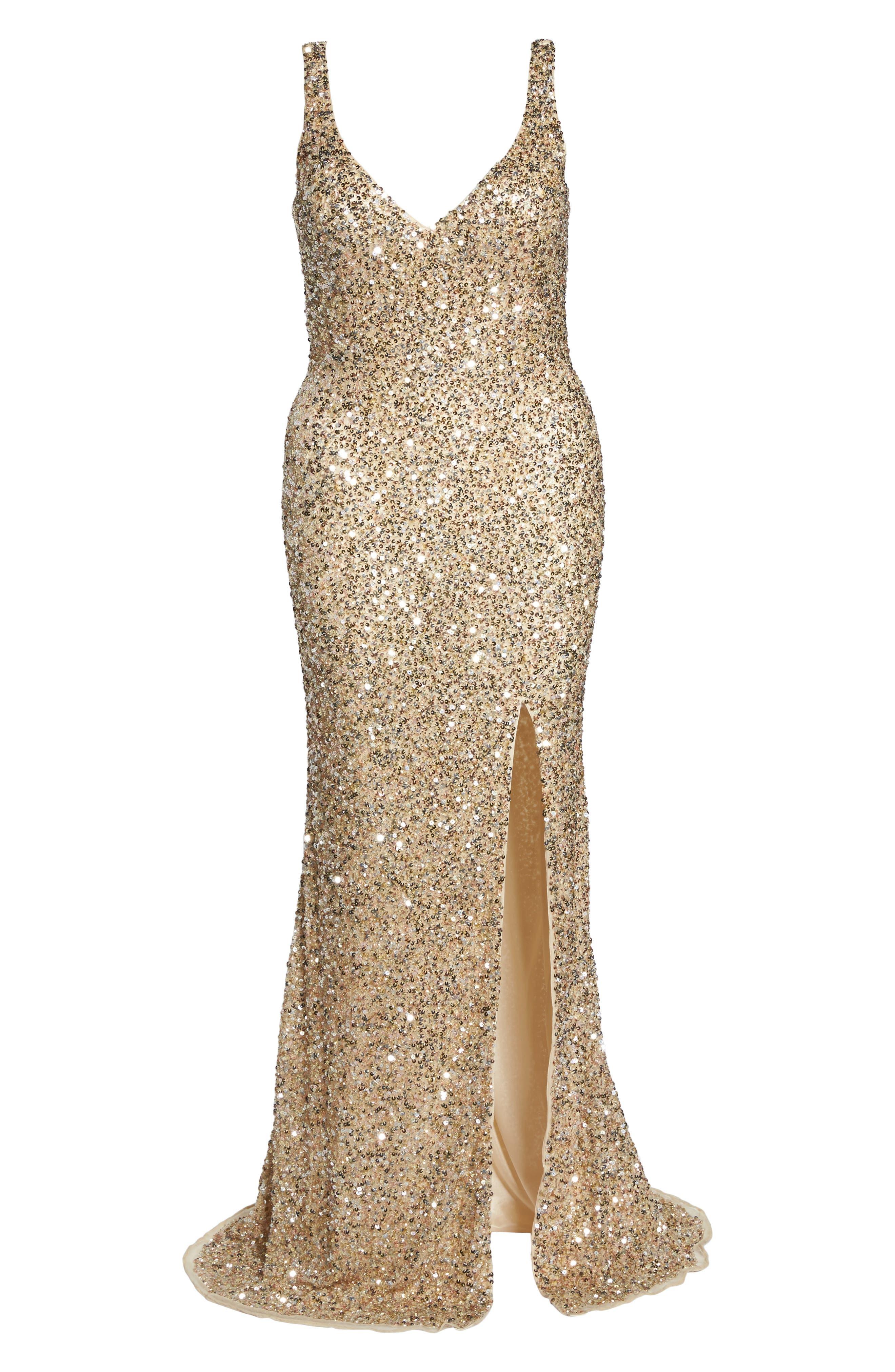 Front Slit Sequin Gown,                             Alternate thumbnail 6, color,                             Gold Multi