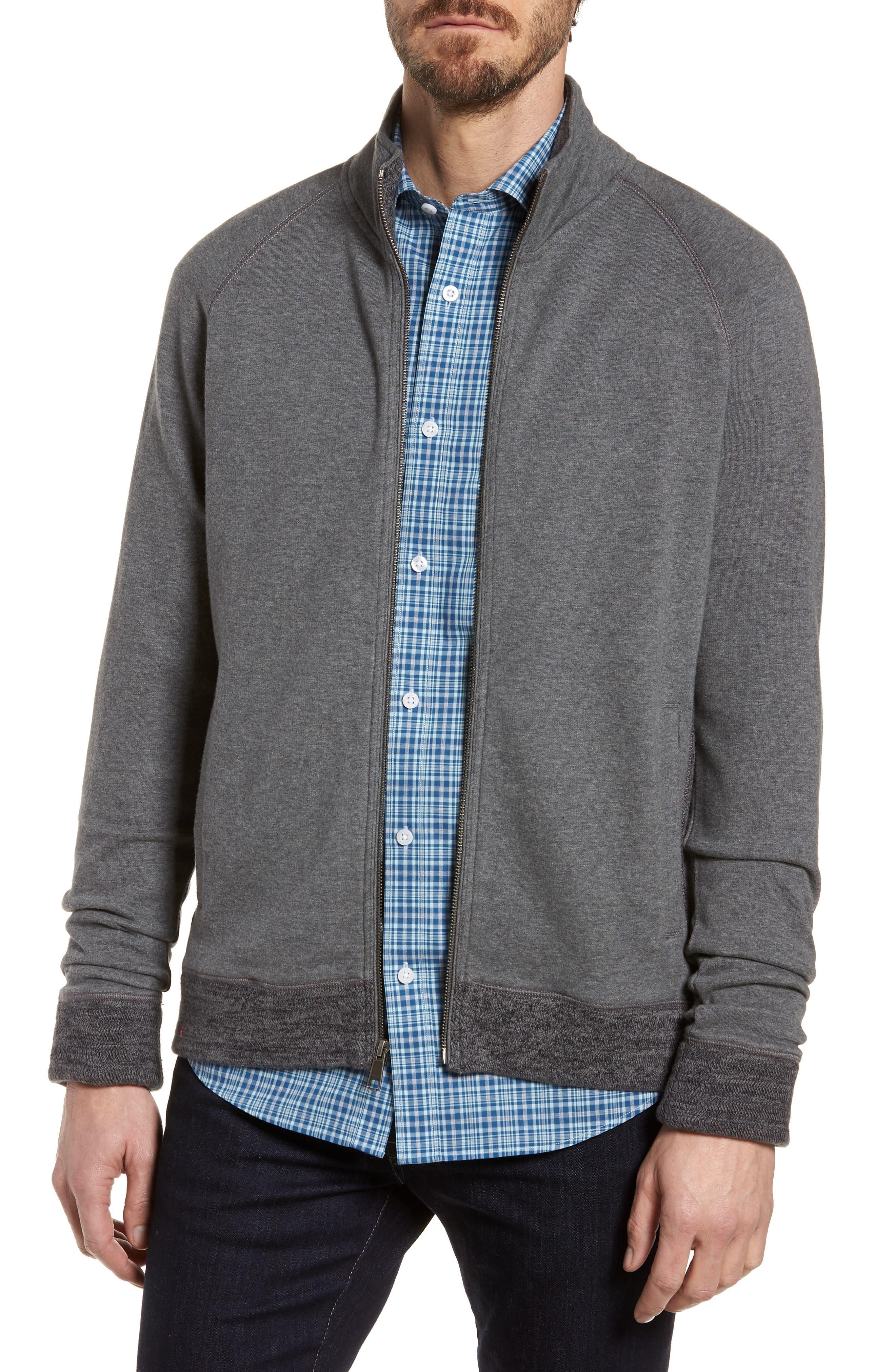 Full Zip Fleece Jacket,                         Main,                         color, Charcoal Heather