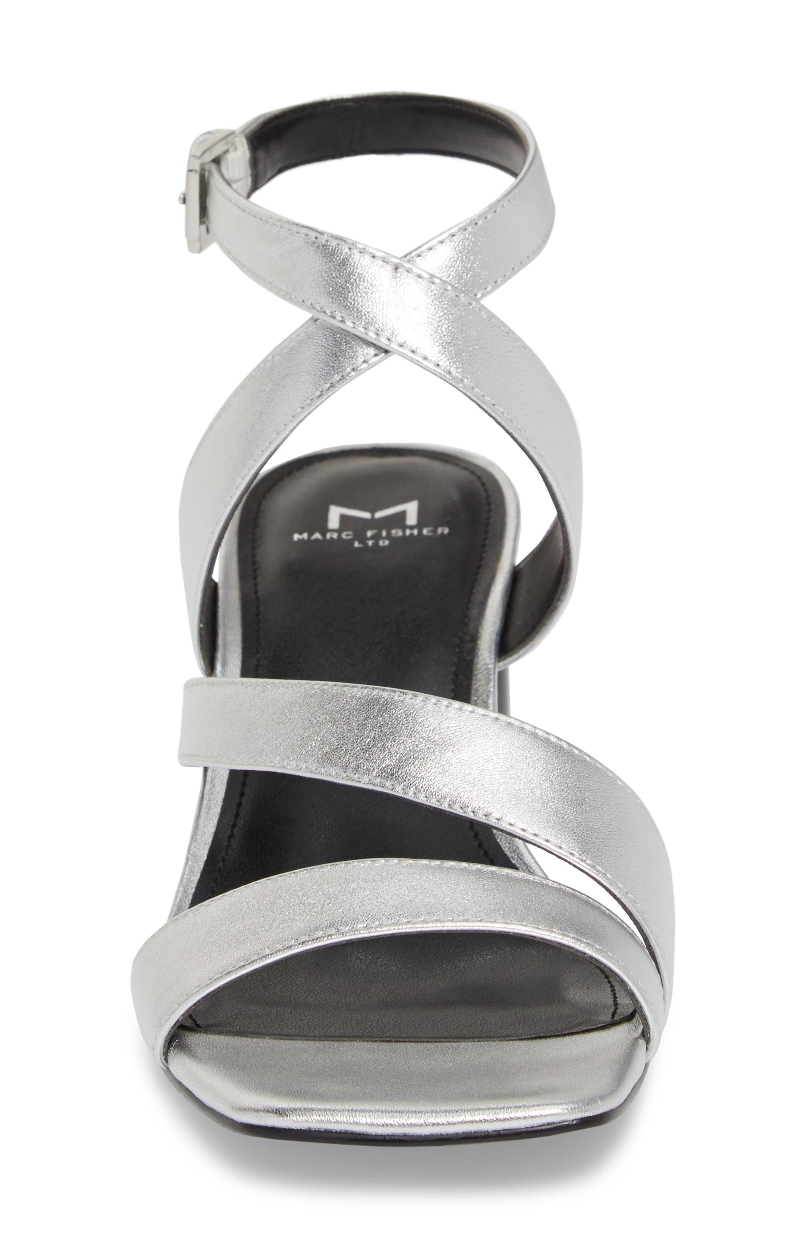 Marc Fischer LTD Idana Strappy Sandal,                             Alternate thumbnail 4, color,                             Silver Leather