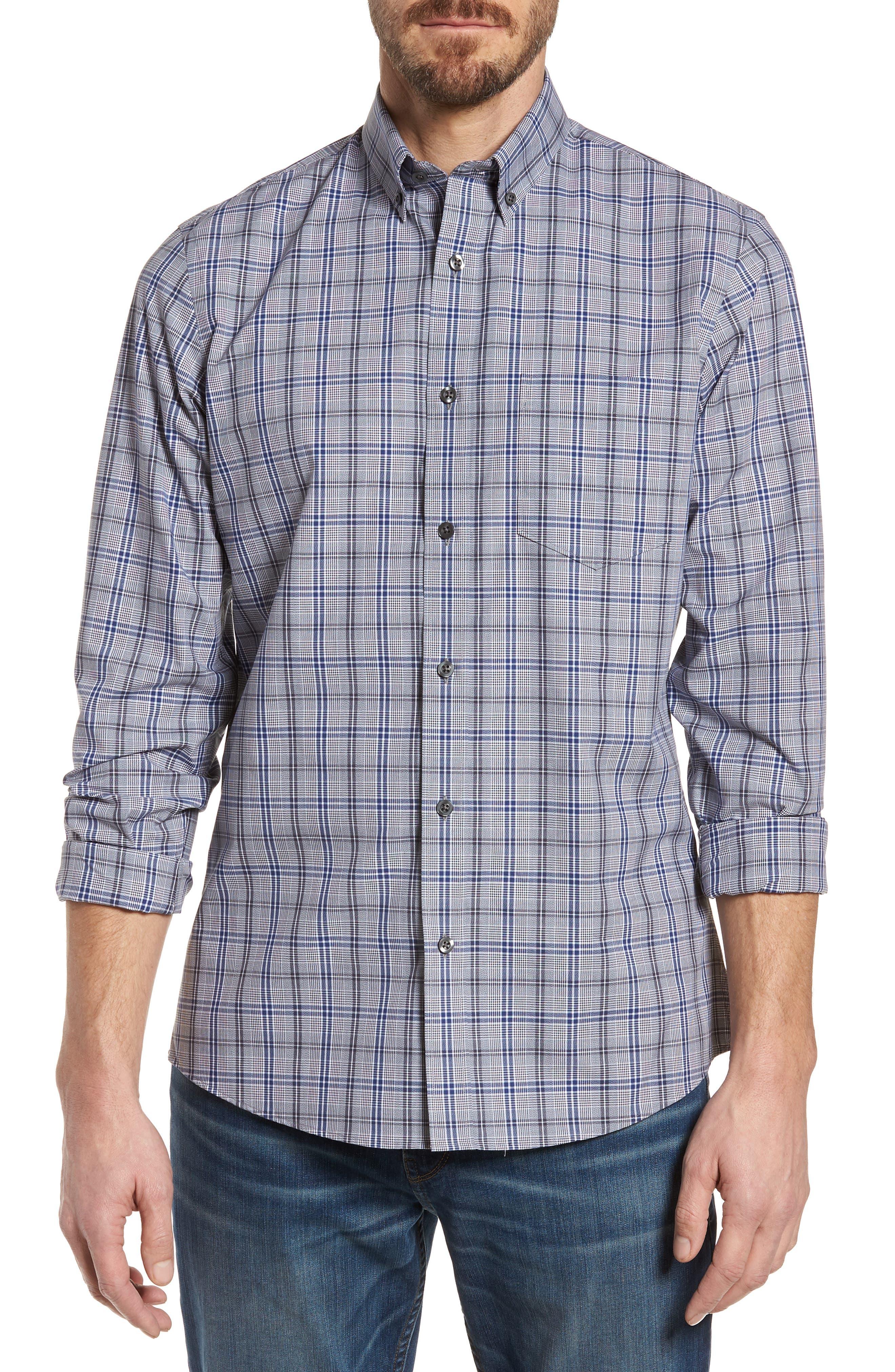 Alternate Image 1 Selected - Nordstrom Men's Shop Trim Fit Non-Iron Check Sport Shirt