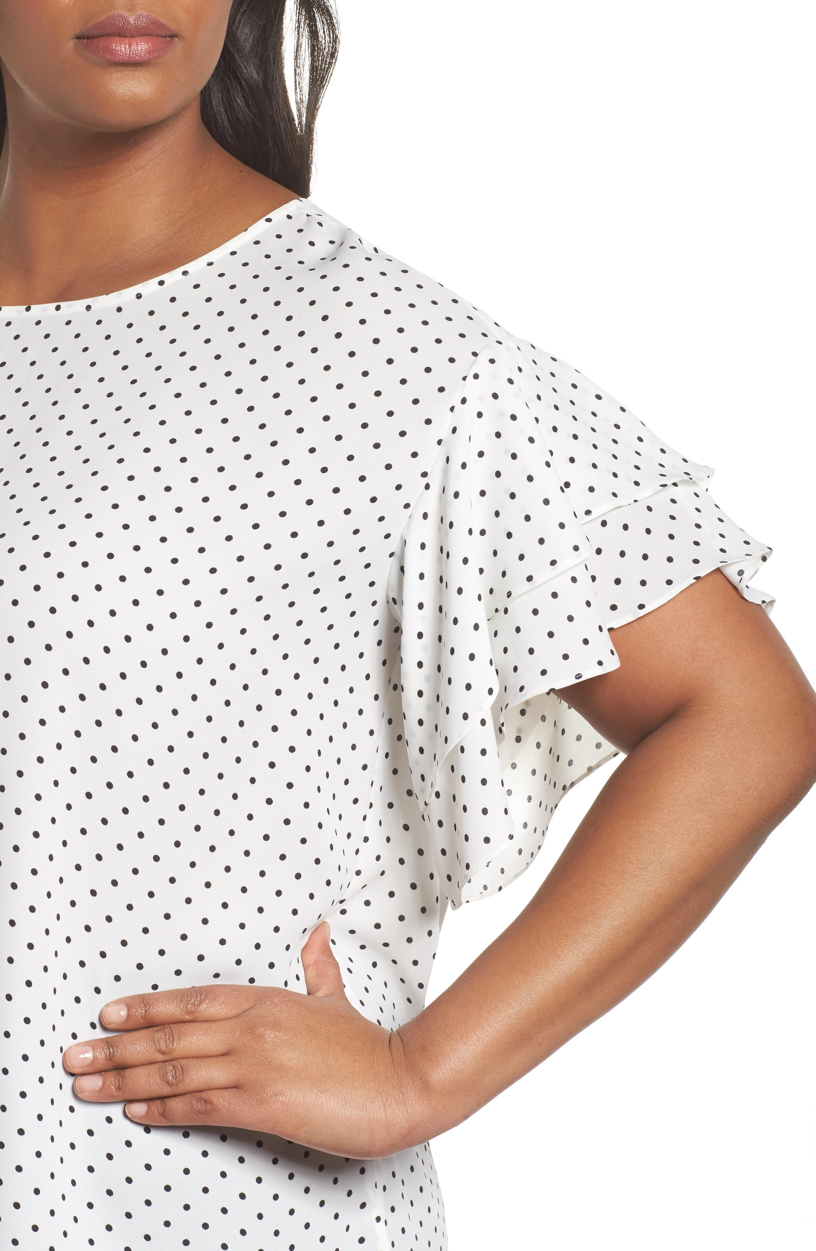 Poetic Dots Tiered Ruffle Sleeve Blouse,                             Alternate thumbnail 4, color,                             New Ivory