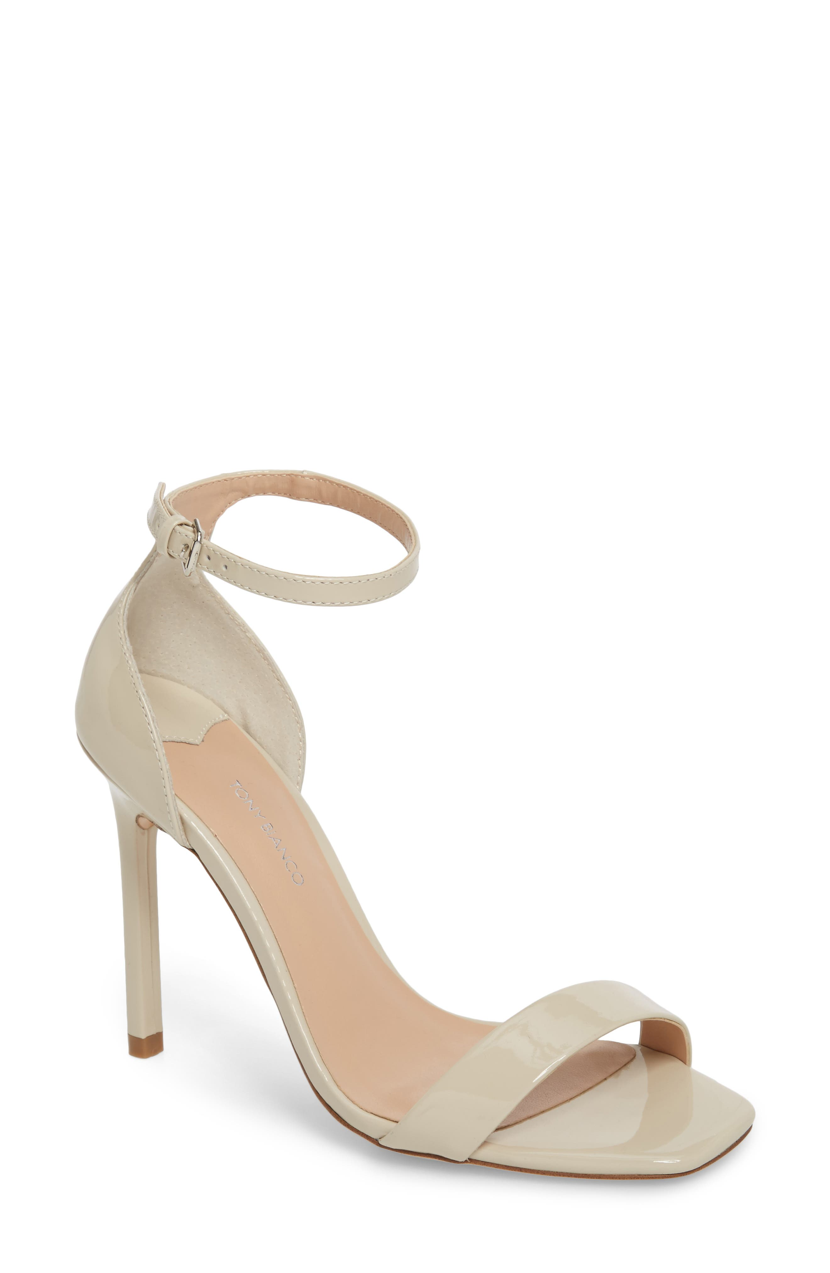 Sacha Ankle Strap Sandal,                             Main thumbnail 1, color,                             Oyster Patent Leather