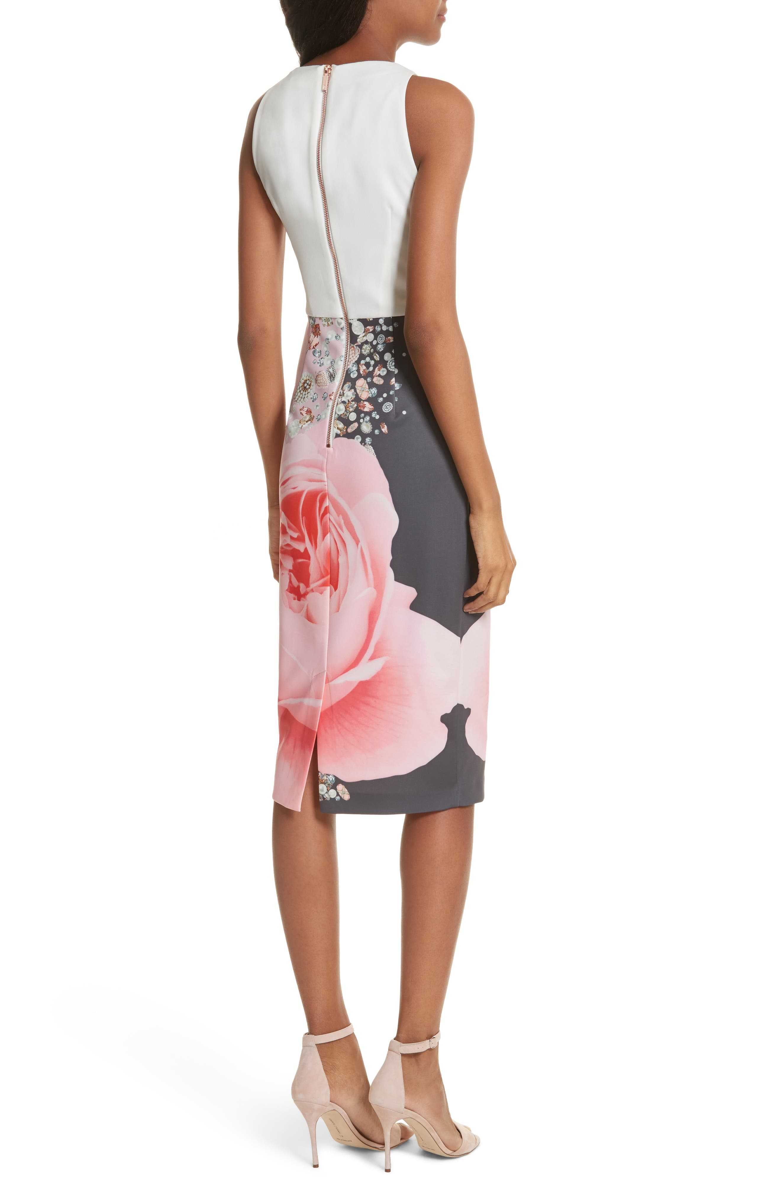 Blenheim Palace Embellished Body-Con Dress,                             Alternate thumbnail 2, color,                             Natural