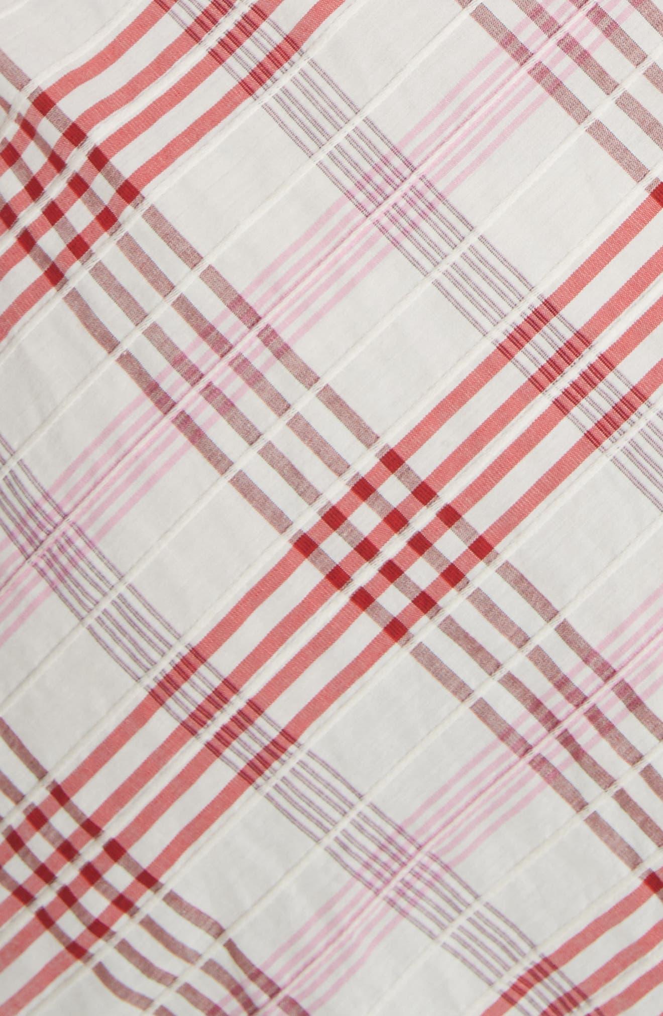 Della Gathered Plaid Dress,                             Alternate thumbnail 5, color,                             Pink