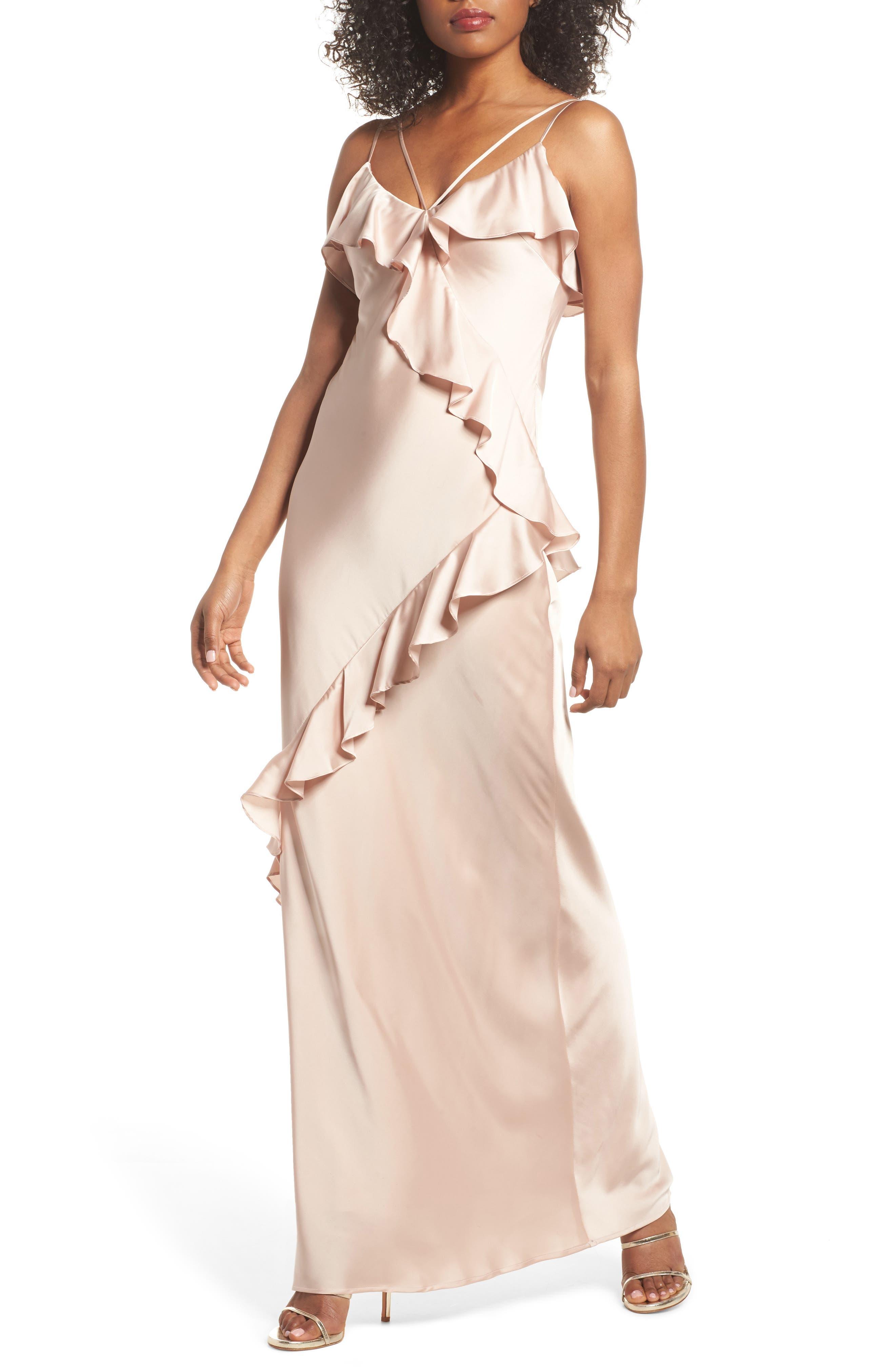 Kylie Ruffle Slipdress,                         Main,                         color, Champagne