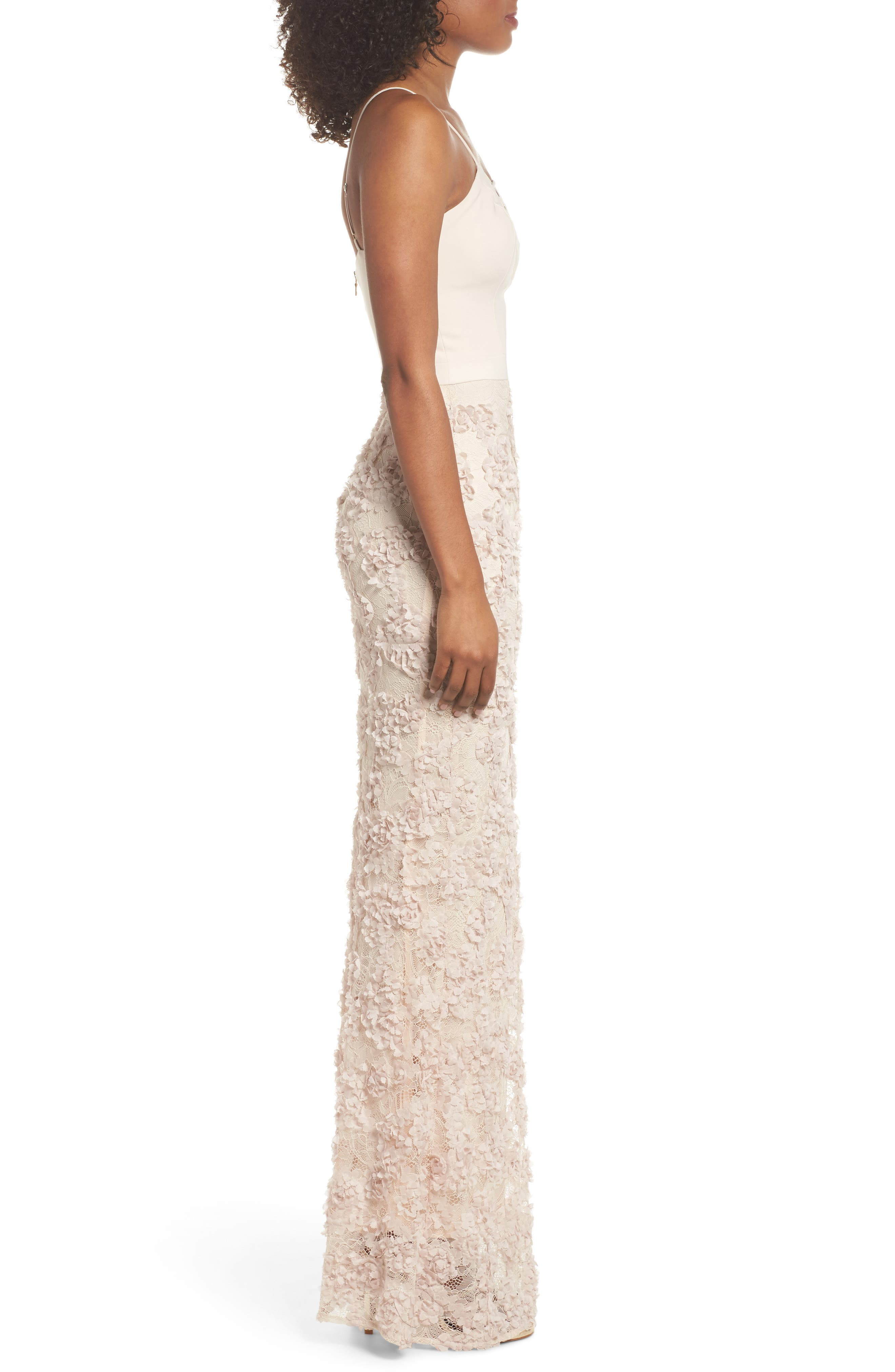 Jessie Strappy Lace Sheath Gown,                             Alternate thumbnail 3, color,                             Champagne