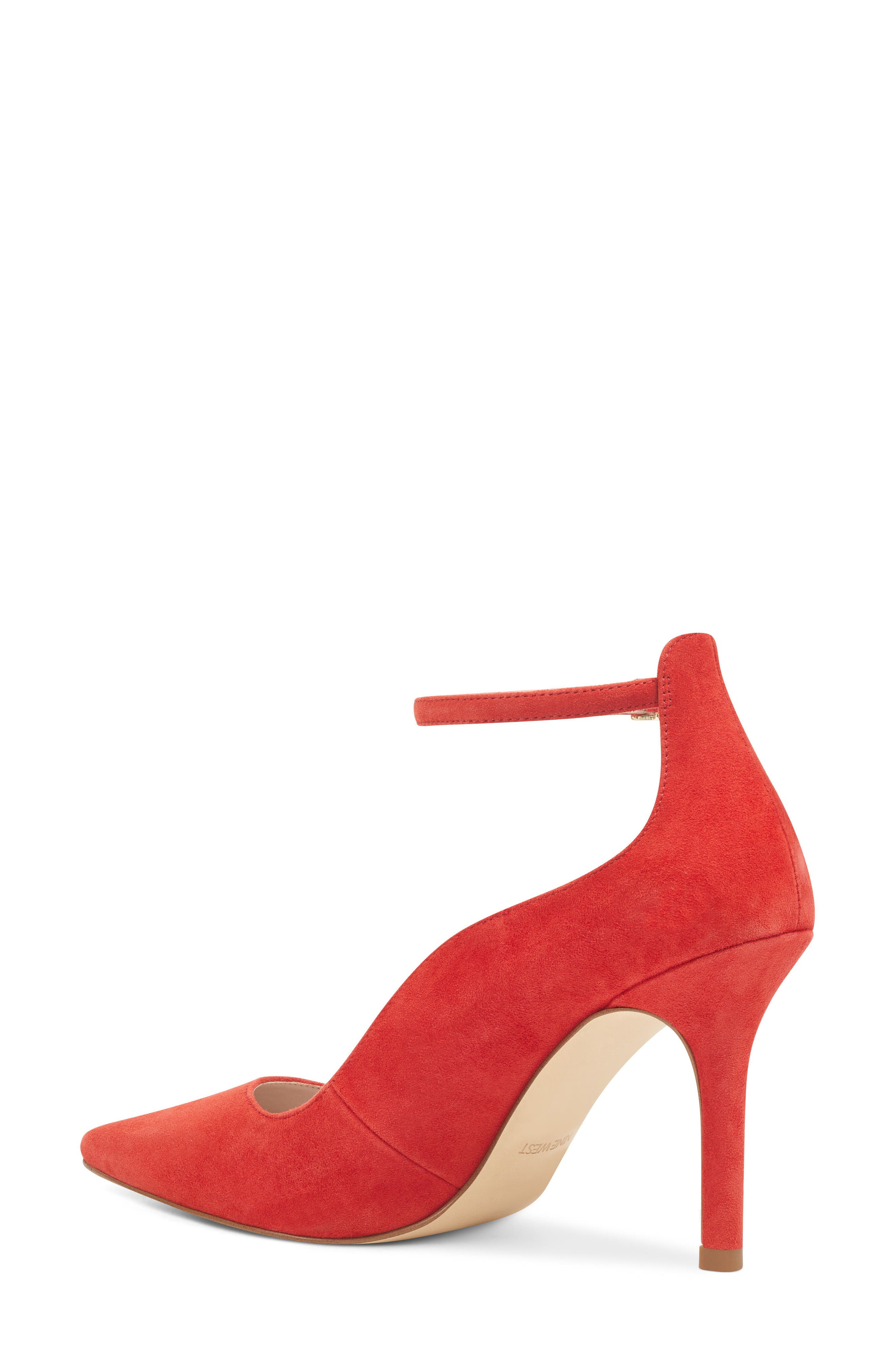 Marquisha Scalloped Ankle Strap Pump,                             Alternate thumbnail 2, color,                             Red Suede