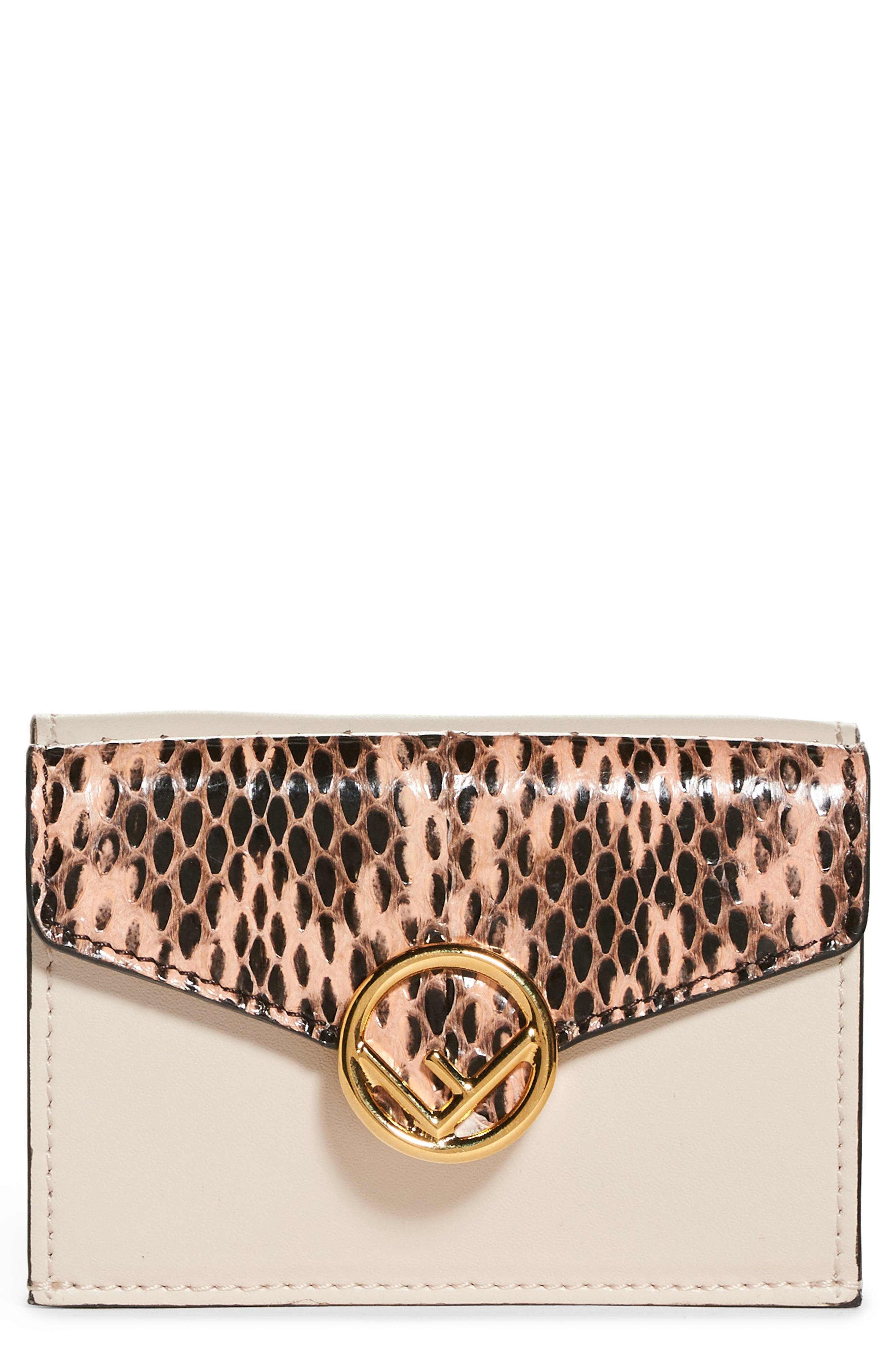 Fendi Kan I Leather & Genuine Snakeskin Trifold Wallet