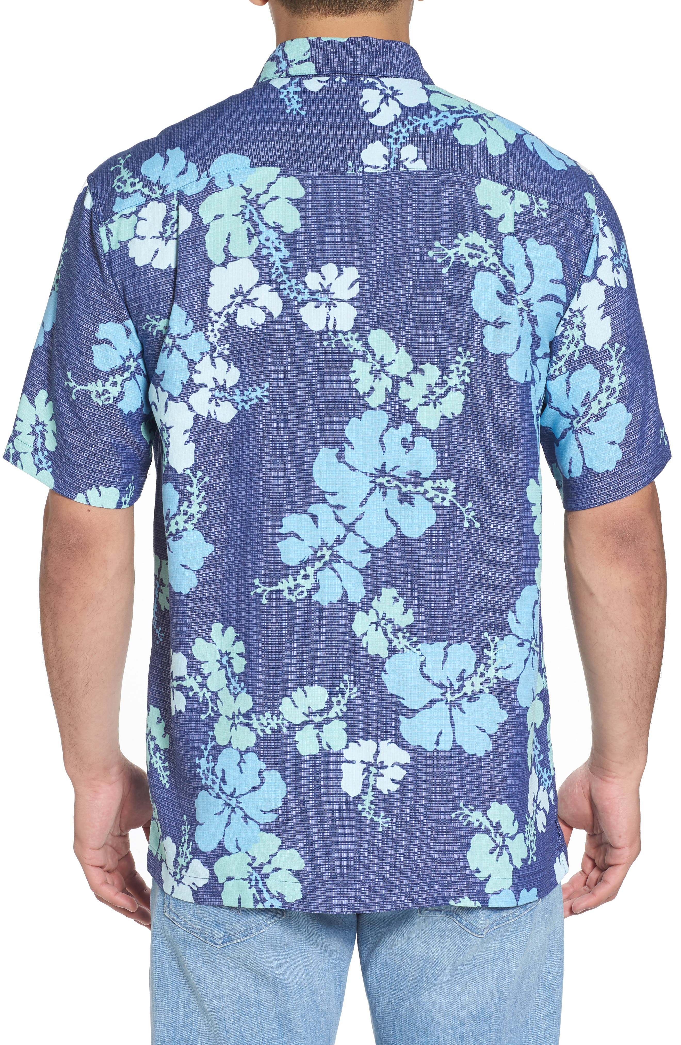 Lei Day Standard Fit Camp Shirt,                             Alternate thumbnail 2, color,                             Navy