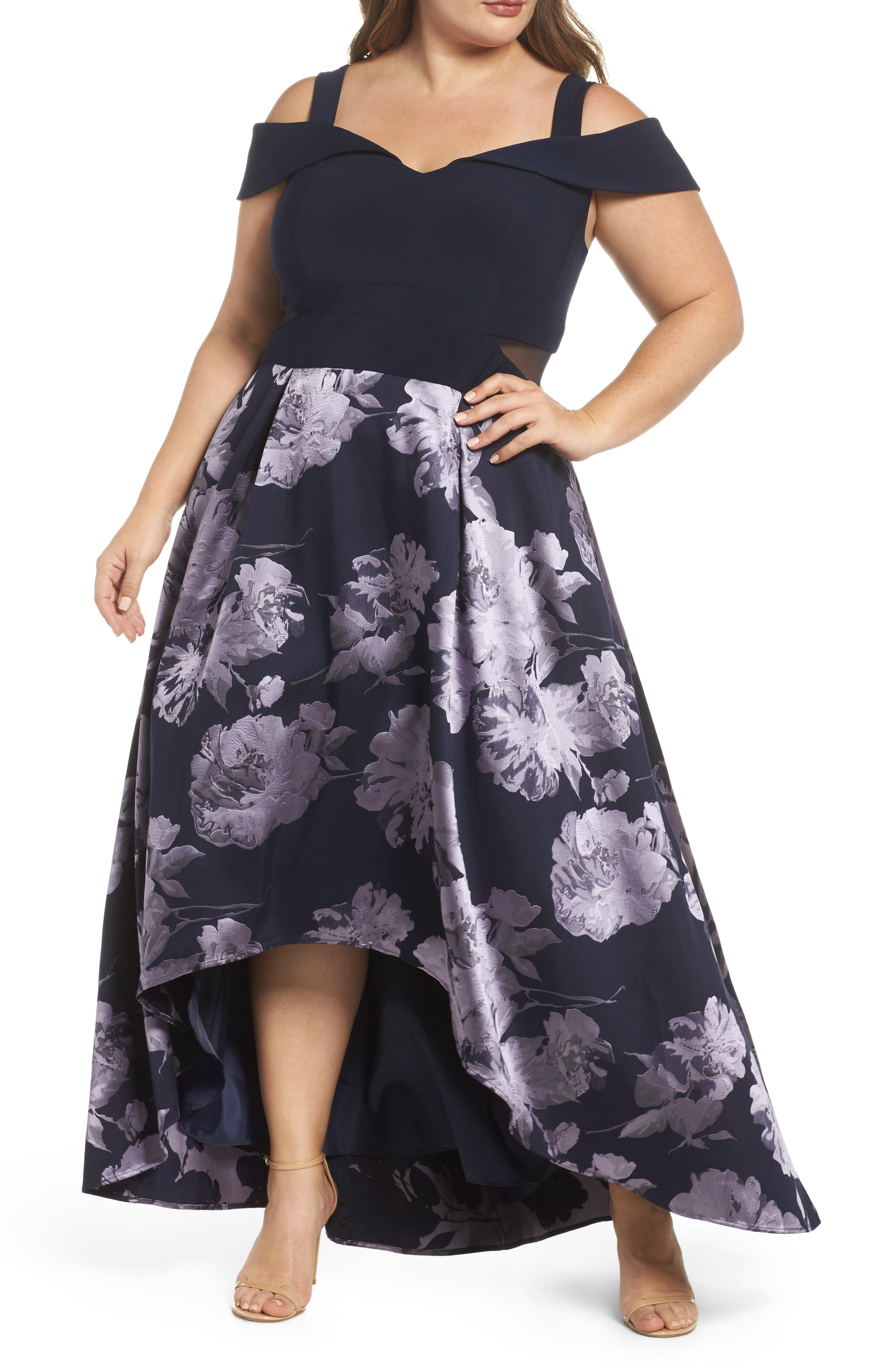 Off the Shoulder Brocade High/Low Dress,                         Main,                         color, Navy/ Lilac