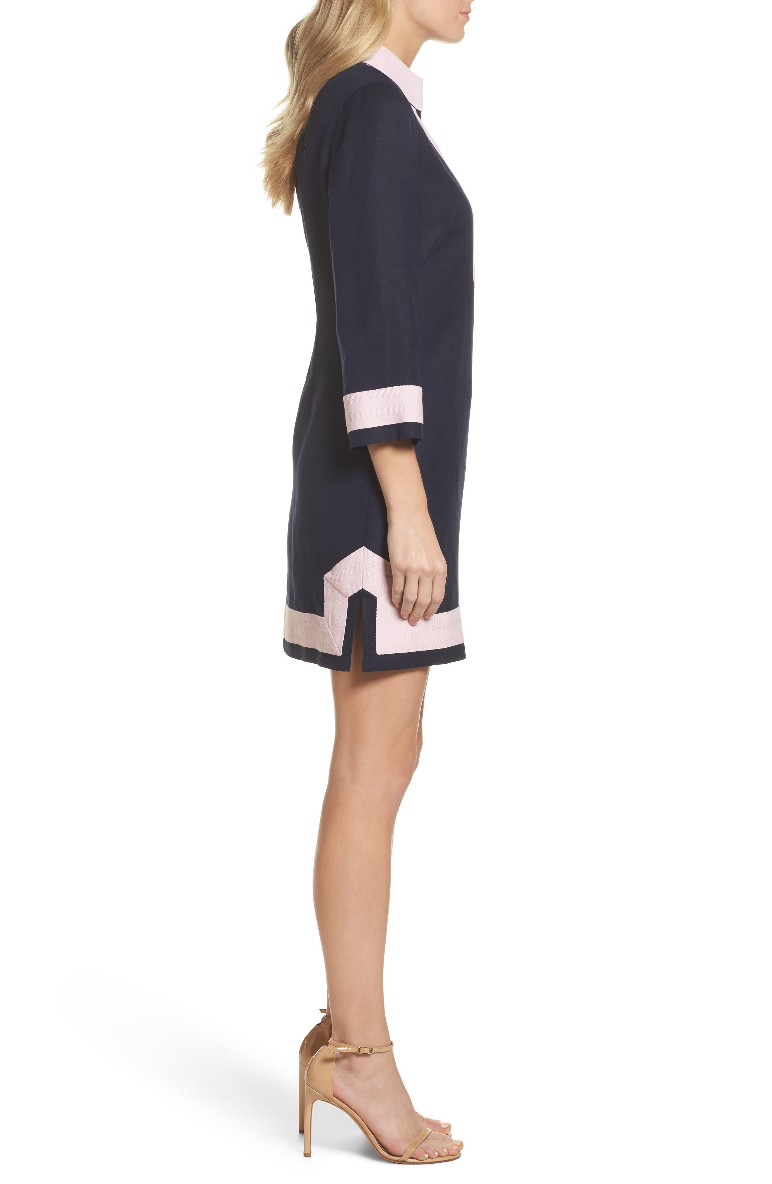 Mandarin Collar Shift Dress,                             Alternate thumbnail 3, color,                             Navy/ Pansy