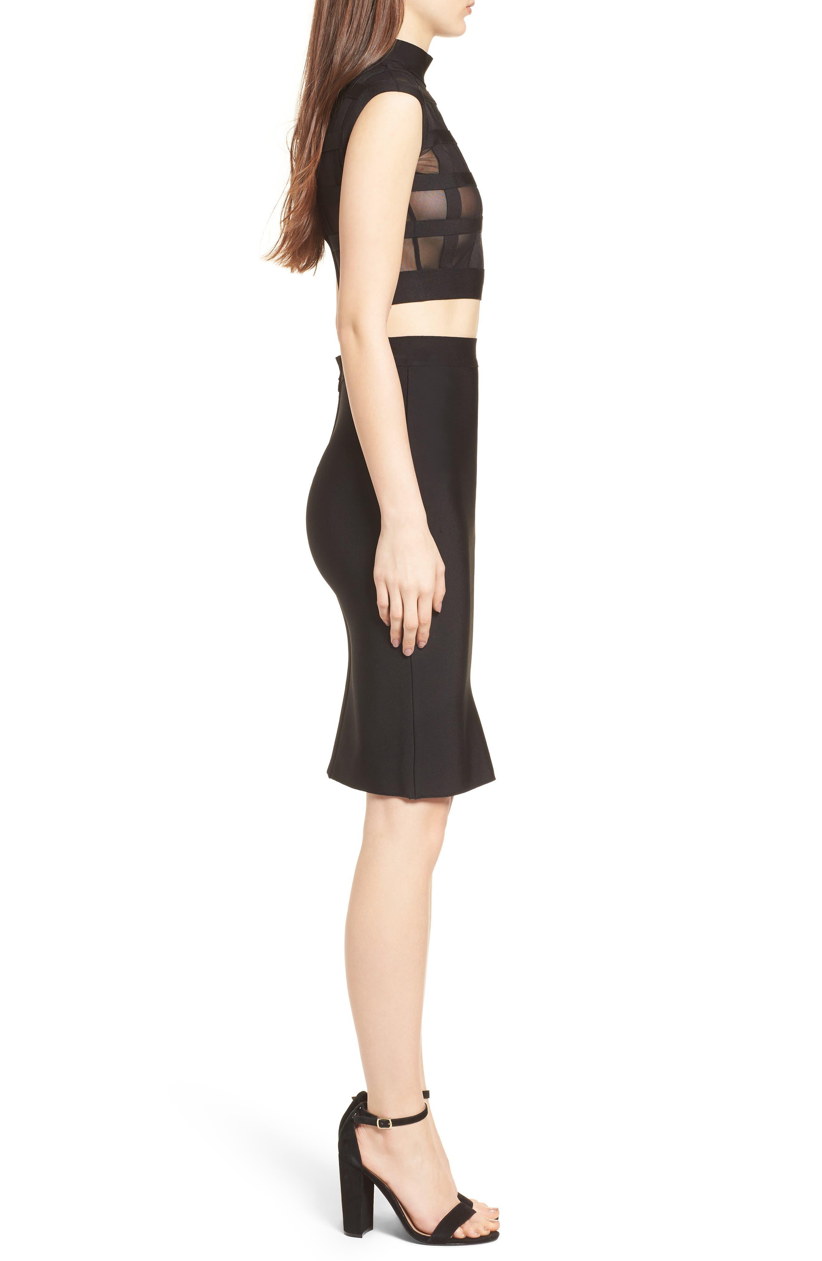 Cagebird Two-Piece Body-Con Dress,                             Alternate thumbnail 3, color,                             Black