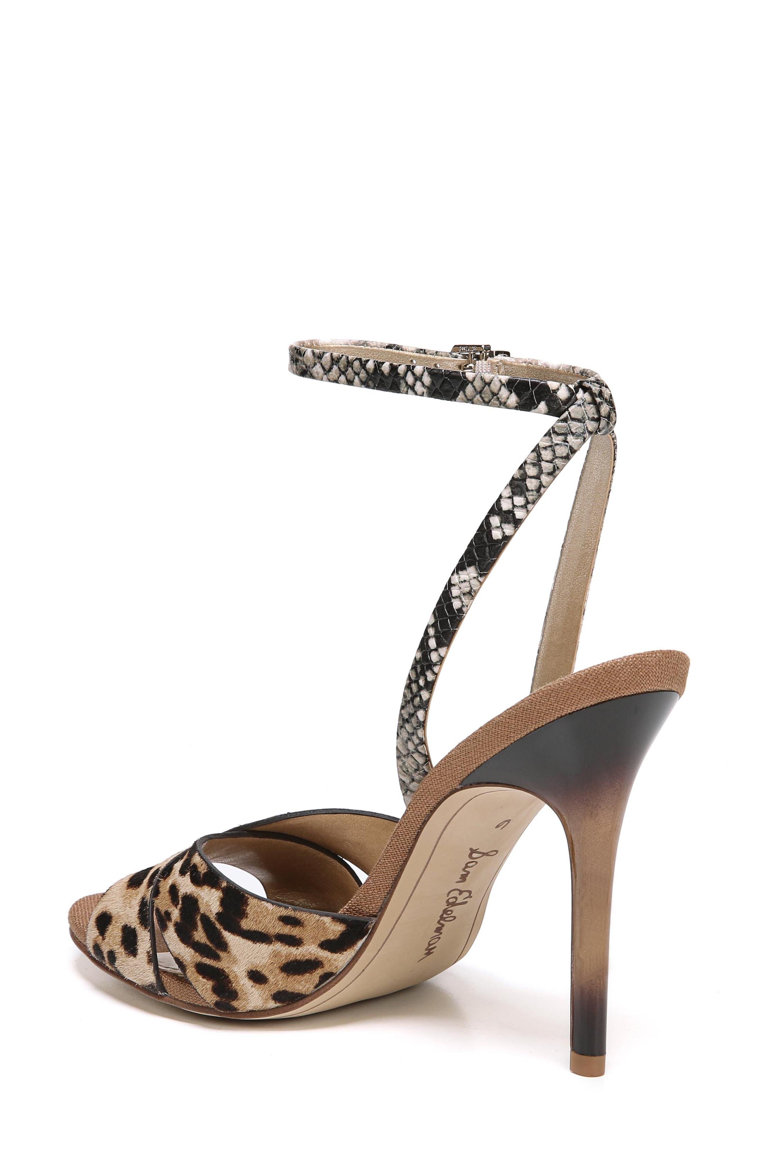 Aly Ankle Strap Sandal,                             Alternate thumbnail 2, color,                             Leopard Print Calf Hair