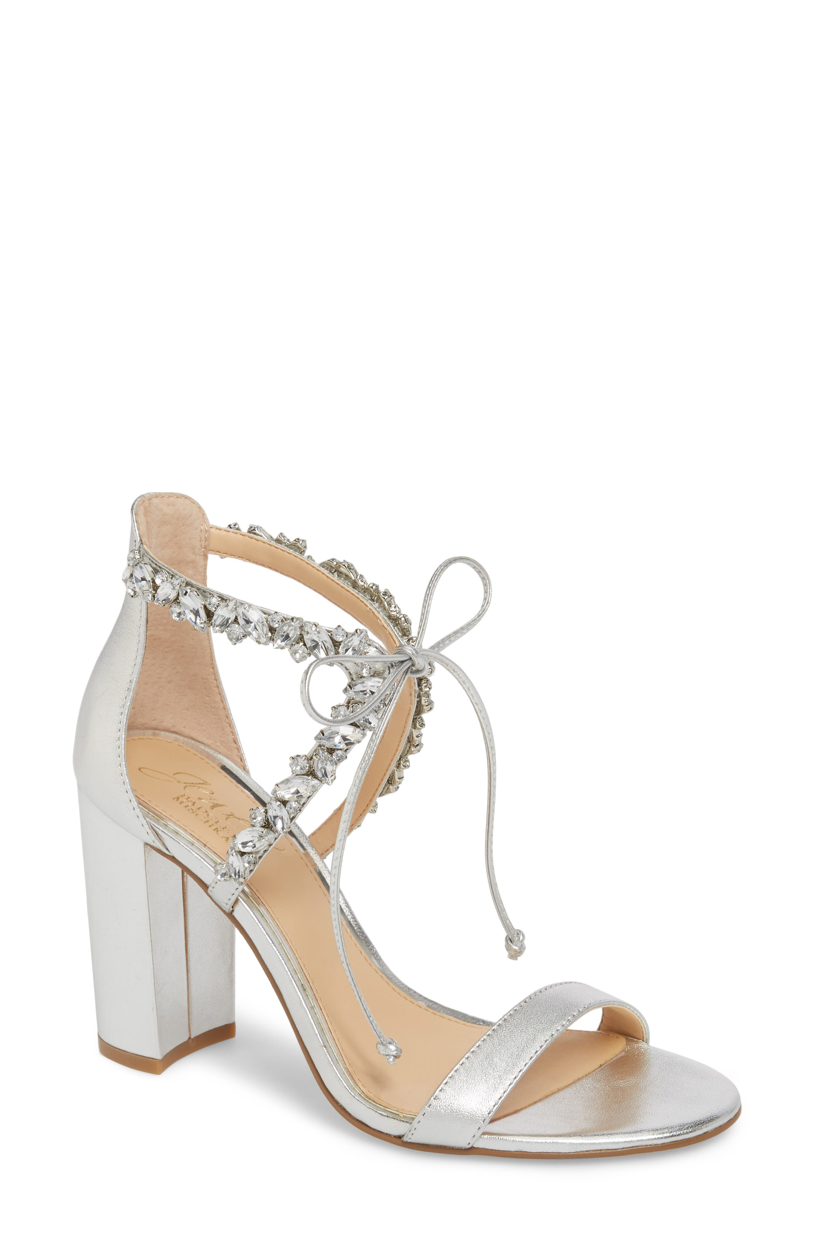 Thamar Embellished Sandal,                             Main thumbnail 1, color,                             Silver Leather