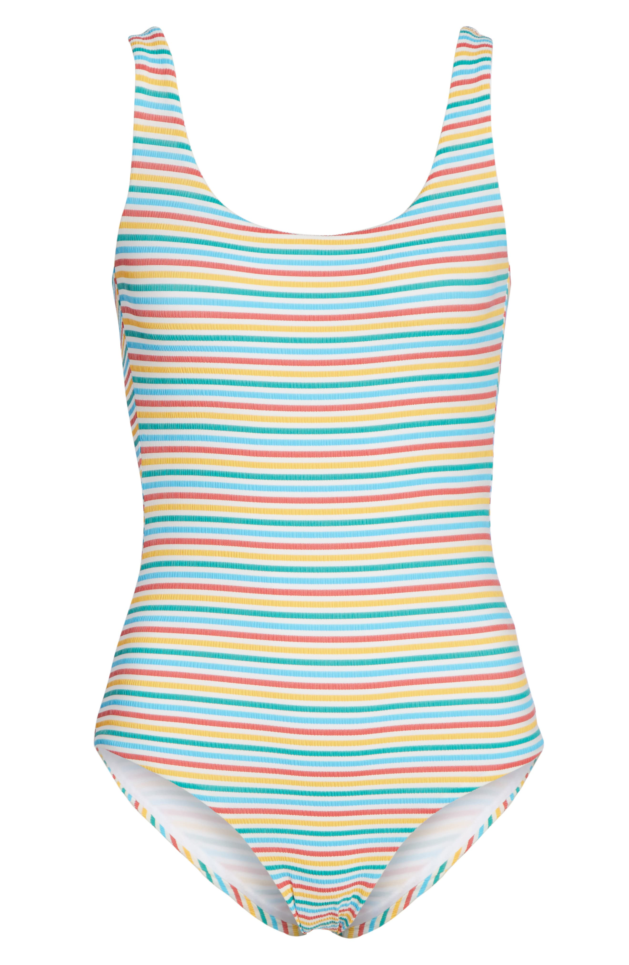 Stripe Low Back One-Piece Swimsuit,                             Alternate thumbnail 6, color,                             Yellow/ Blue/ Red