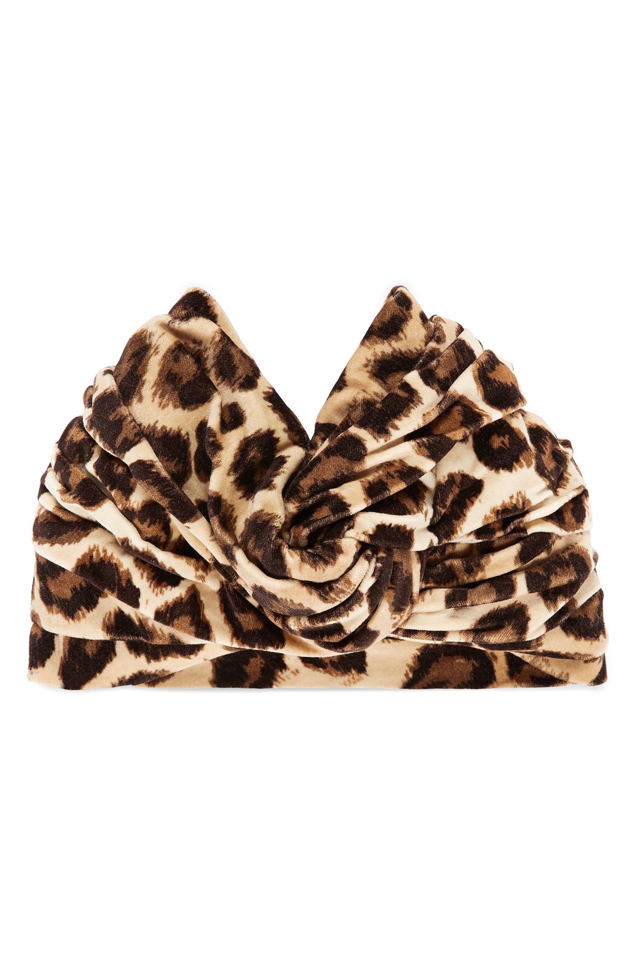 Lucileo Leopard Velvet Turban Headband,                             Main thumbnail 1, color,                             Beige/ Black