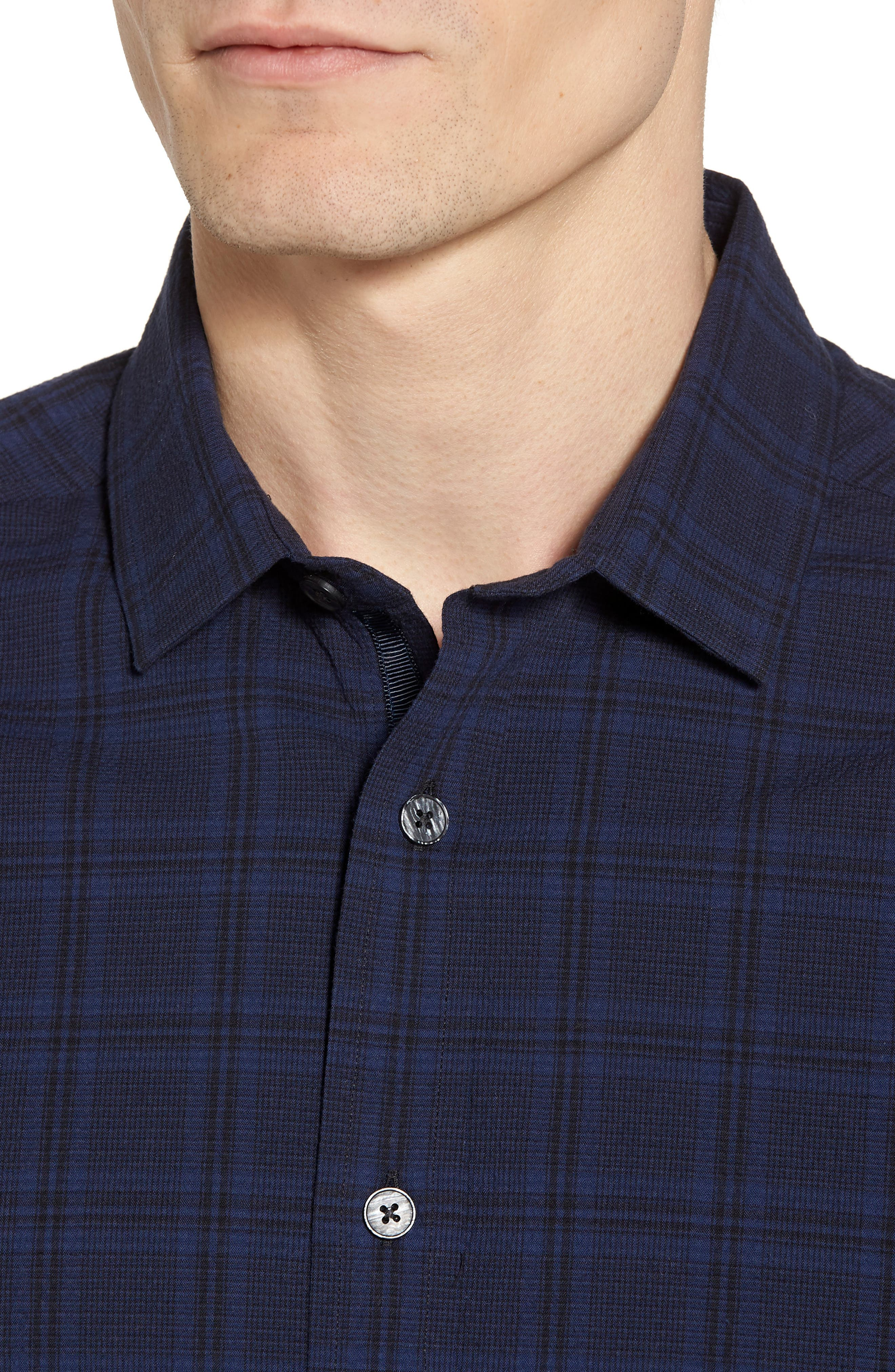 Slim Fit Plaid Stretch Sport Shirt,                             Alternate thumbnail 4, color,                             Navy Seersucker Plaid