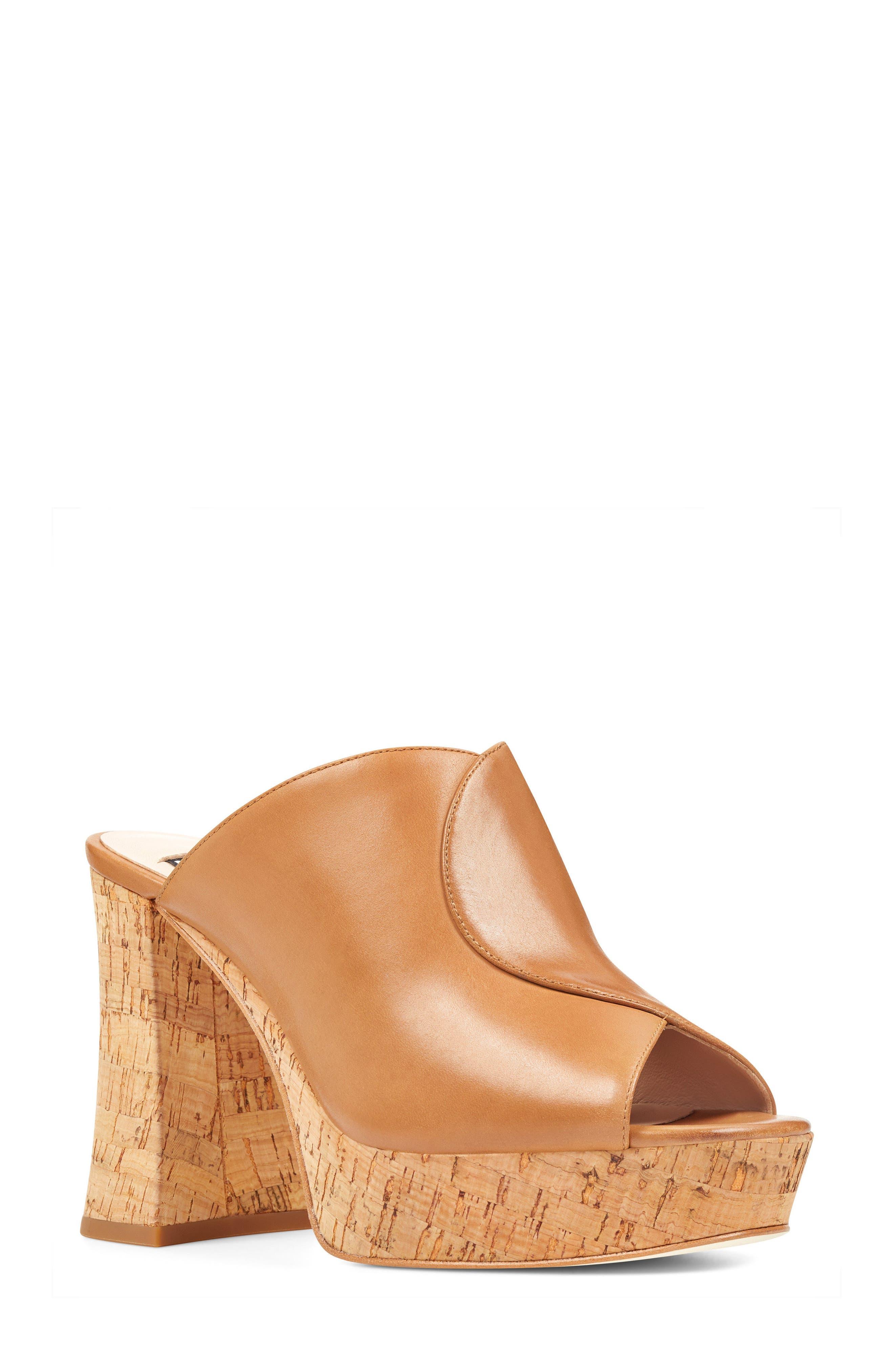 Lisana - 40th Anniversary Capsule Collection Platform Slide Sandal,                             Main thumbnail 1, color,                             Dark Natural Leather
