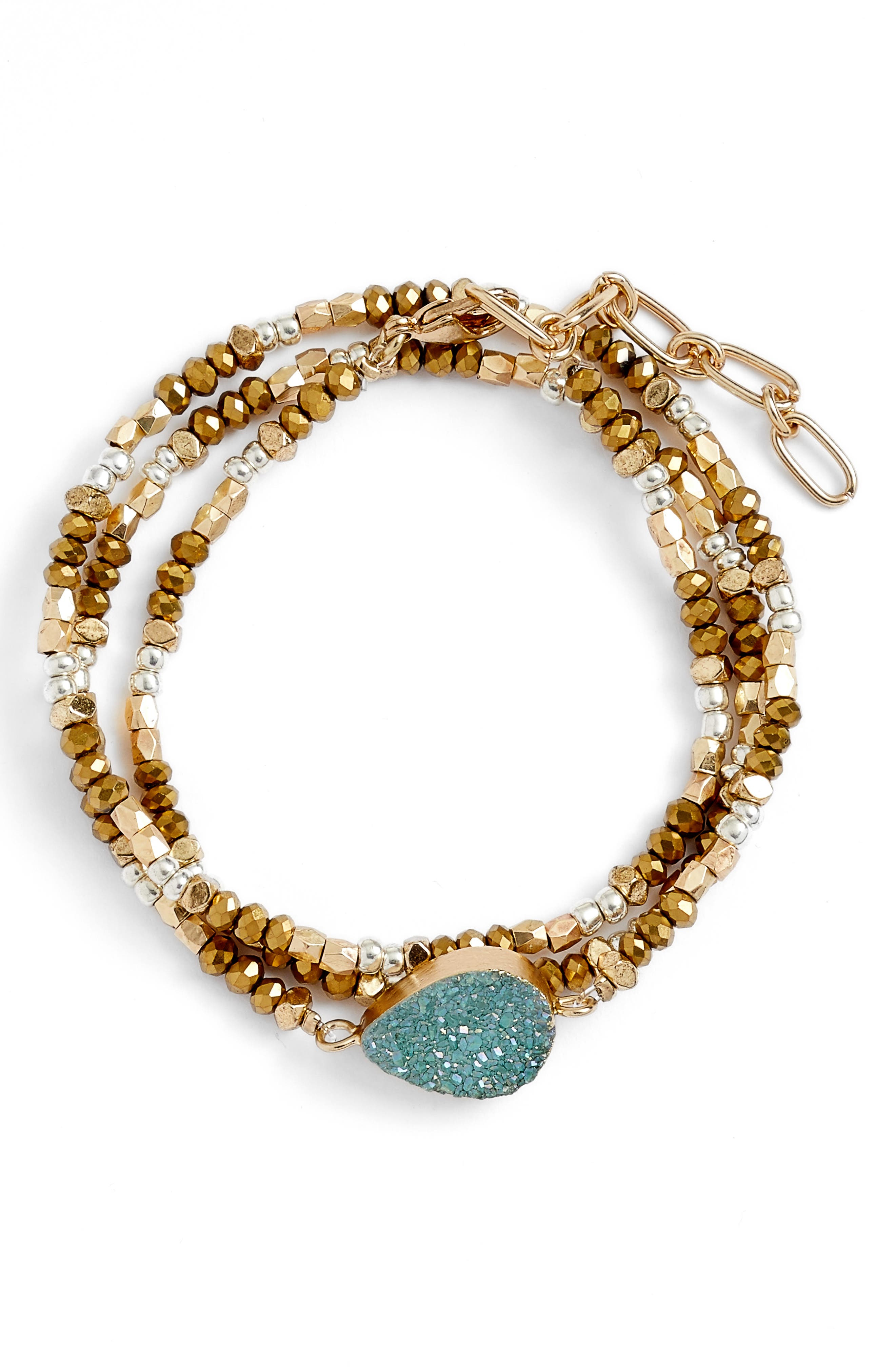 Treasure & Bond Drusy Triple Wrap Bracelet