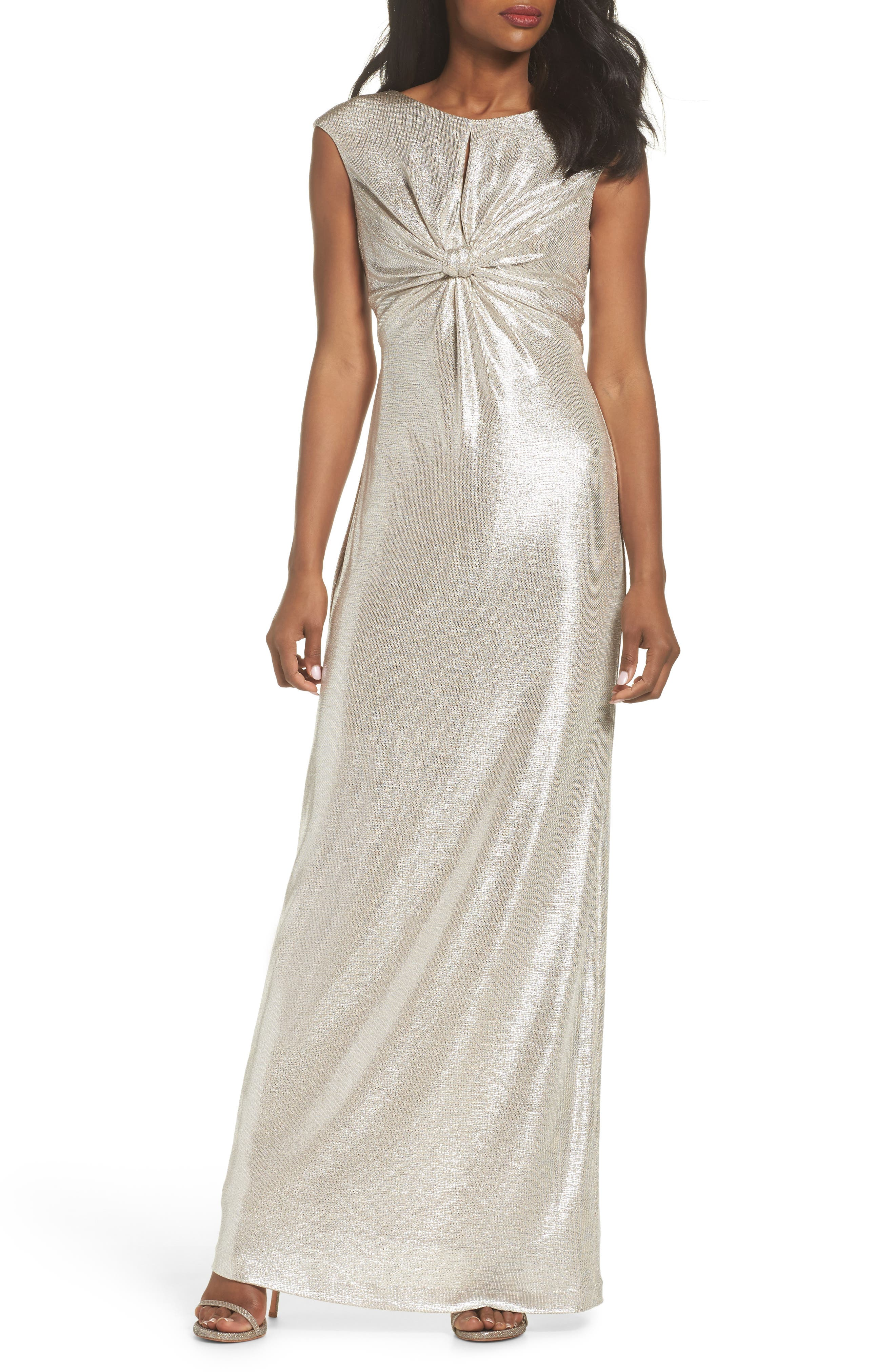 Twist Front Gown,                             Main thumbnail 1, color,                             Silver