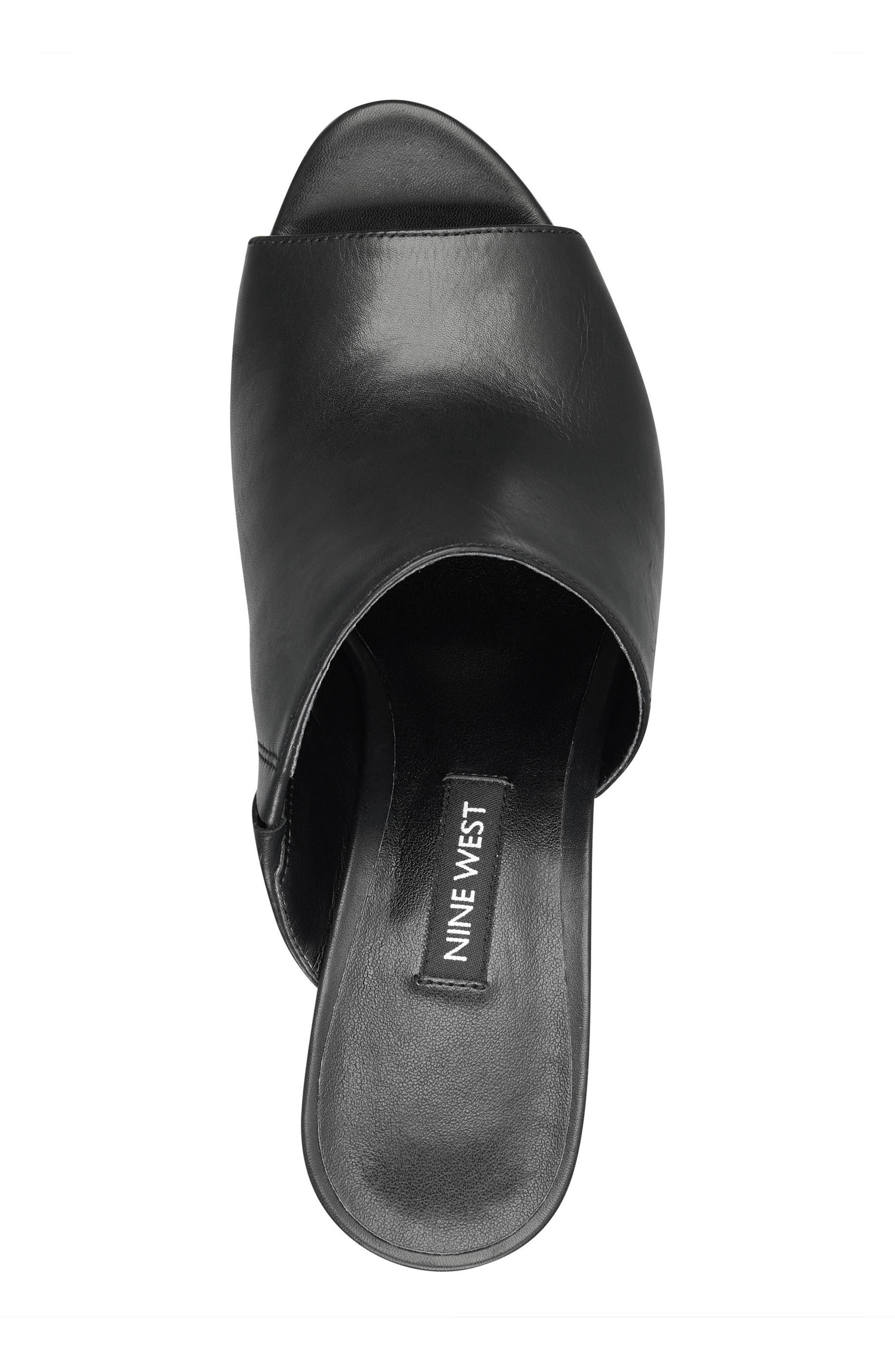 Janissah Wedge,                             Alternate thumbnail 5, color,                             Black Leather