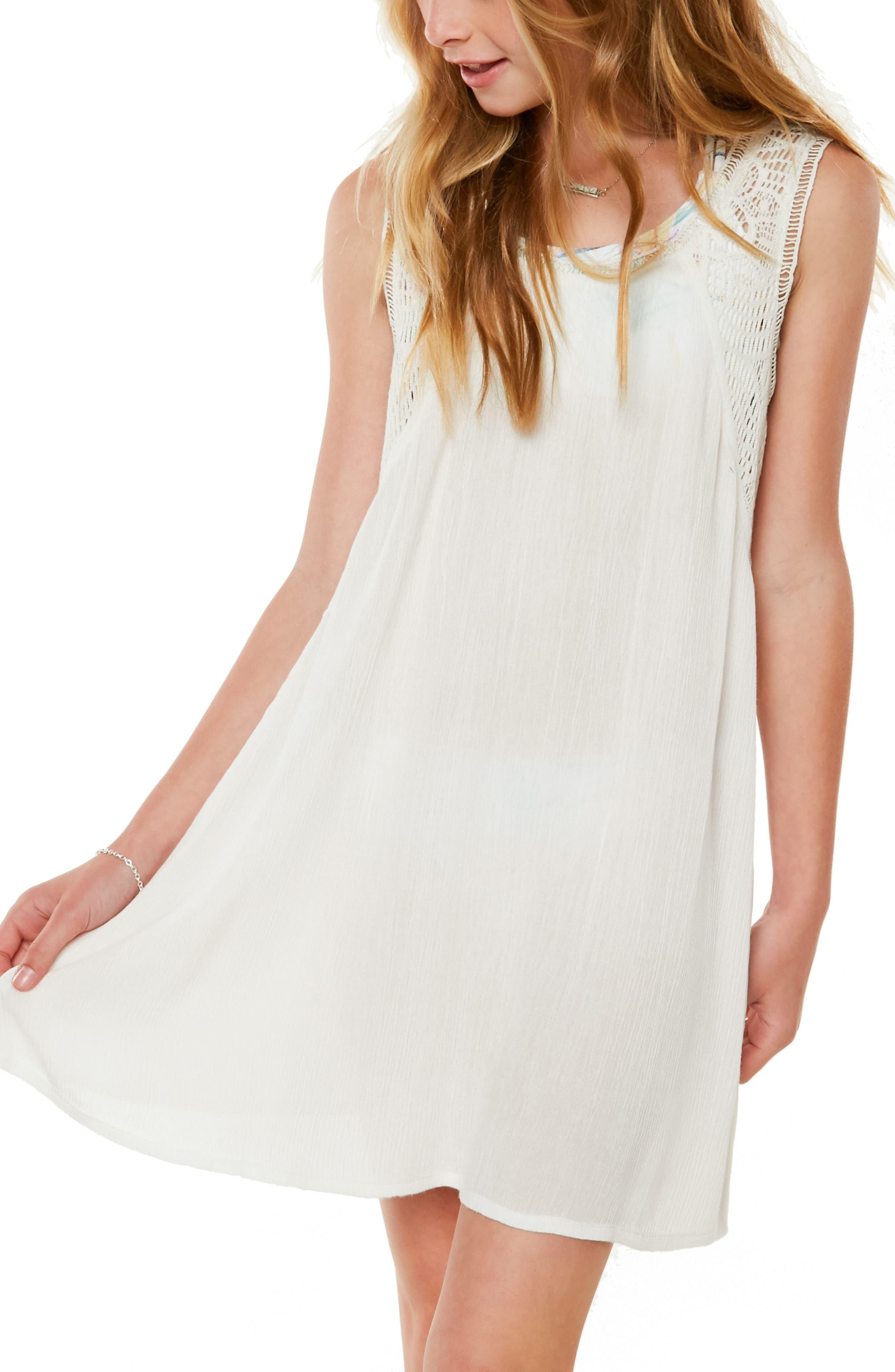 Addilyn Crochet Cover-Up Dress,                             Main thumbnail 1, color,                             Vanilla