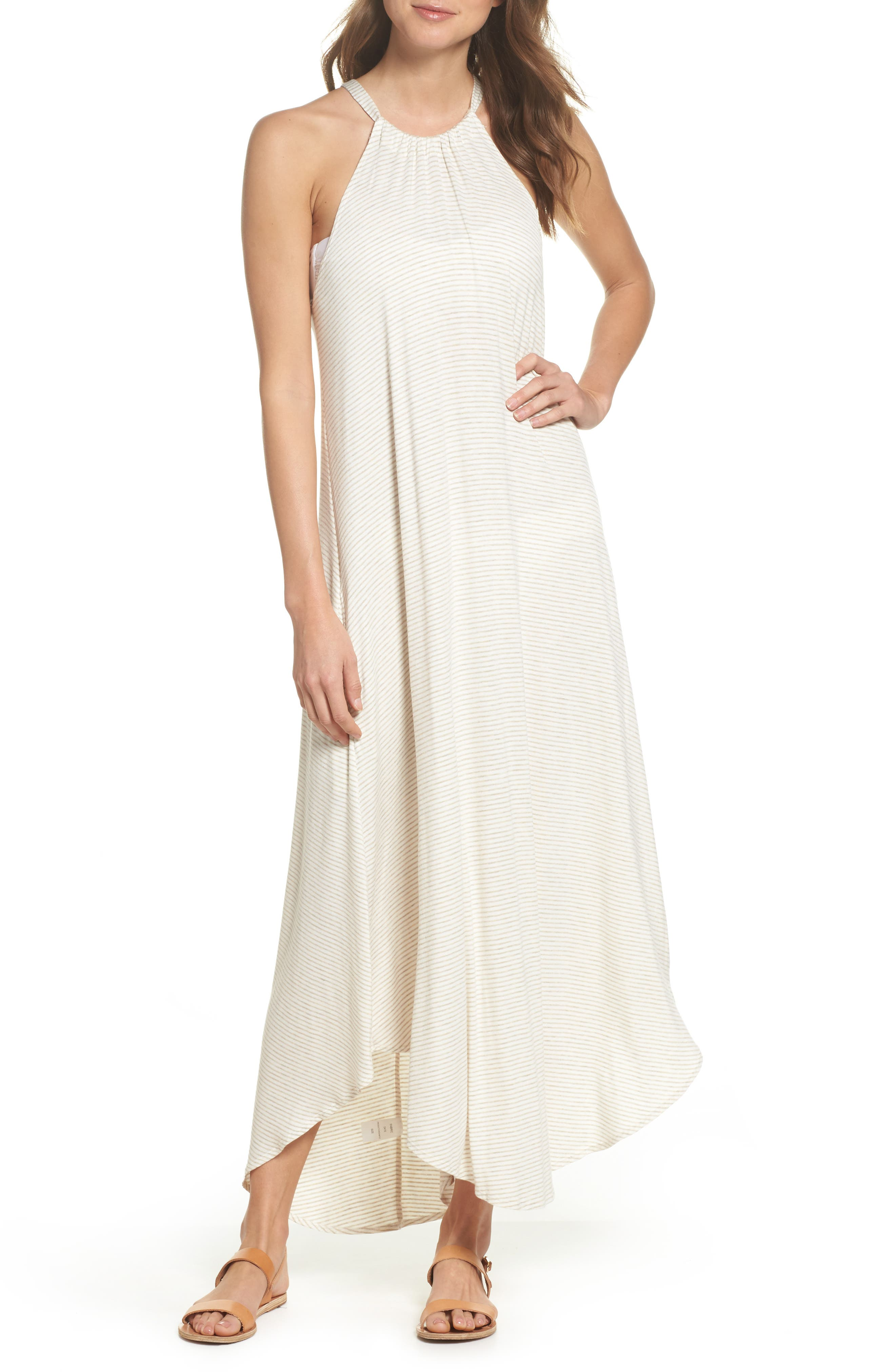 High Neck Cover-Up Dress,                             Main thumbnail 1, color,                             Natural Stripe
