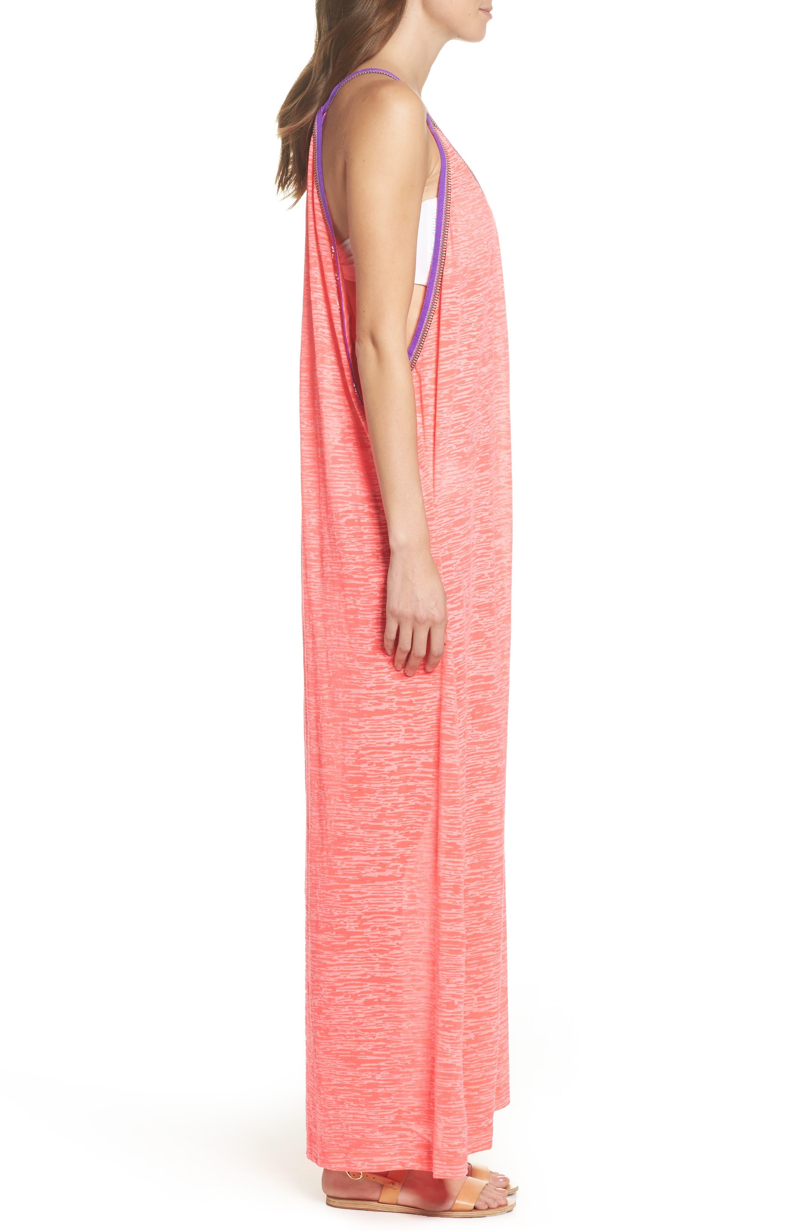 Inca Cover-Up Maxi Sundress,                             Alternate thumbnail 3, color,                             Hot Pink