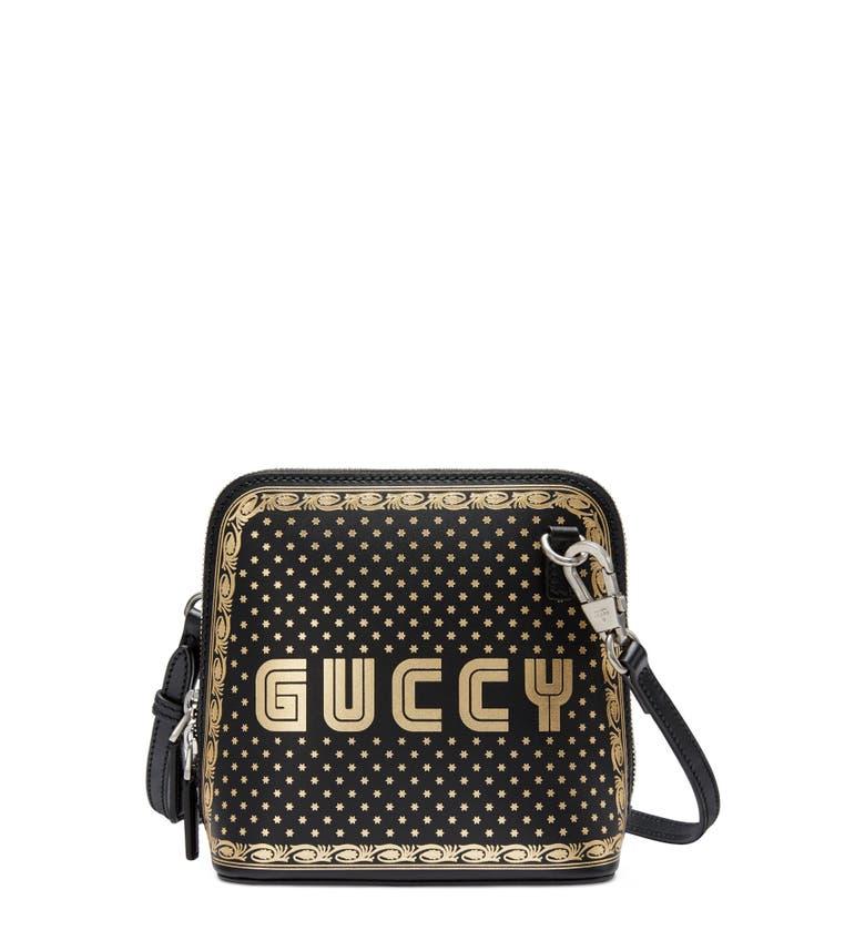8a7bc6ac200 Gucci Guccy Logo Moon   Stars Leather Crossbody Bag In Black