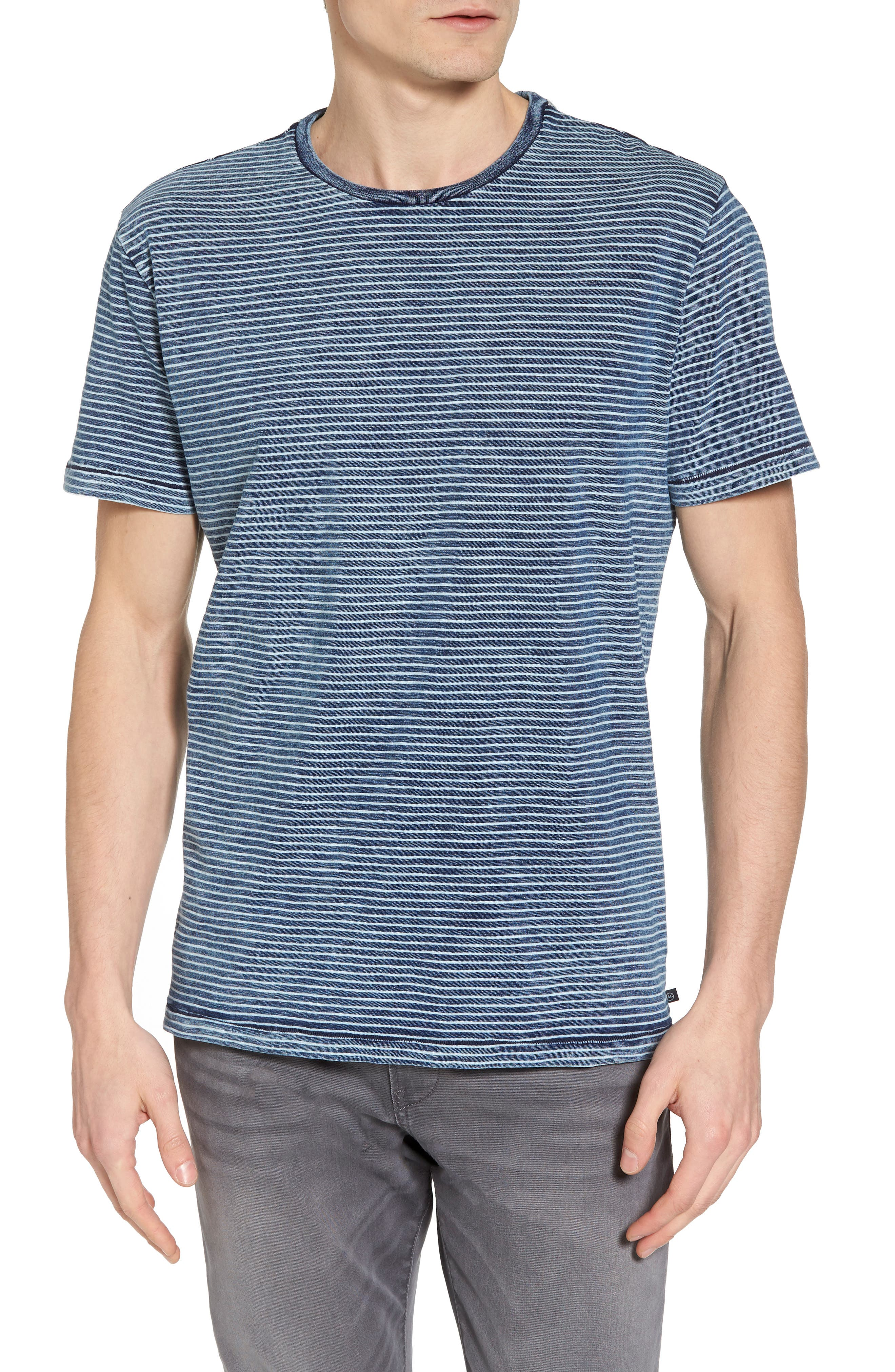 Julian Slim Fit Crewneck Shirt,                             Main thumbnail 1, color,                             Marbled Indigo/ White Stripe