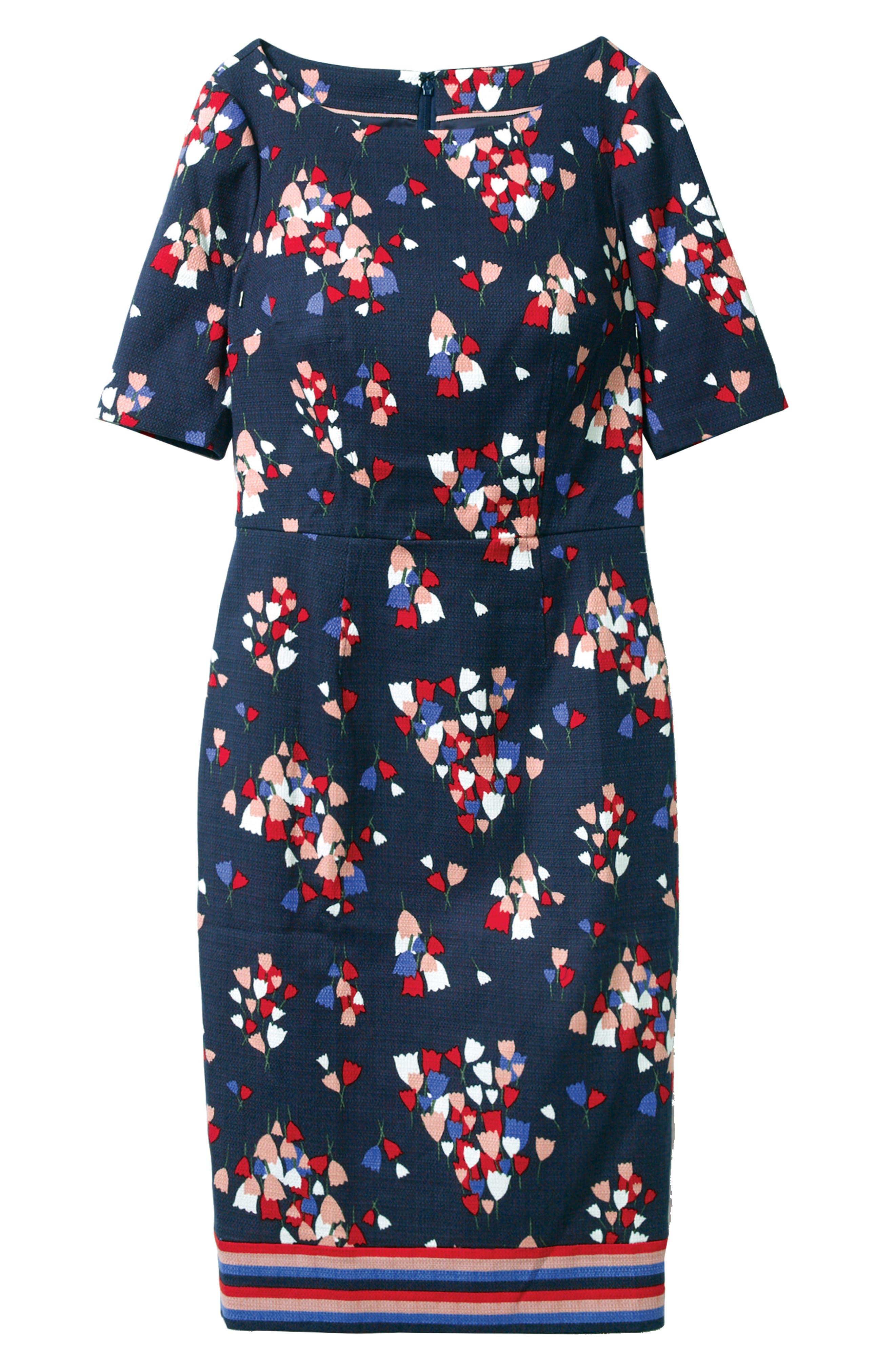 Fleur Sheath Dress,                             Alternate thumbnail 2, color,                             Navy/ Tulip