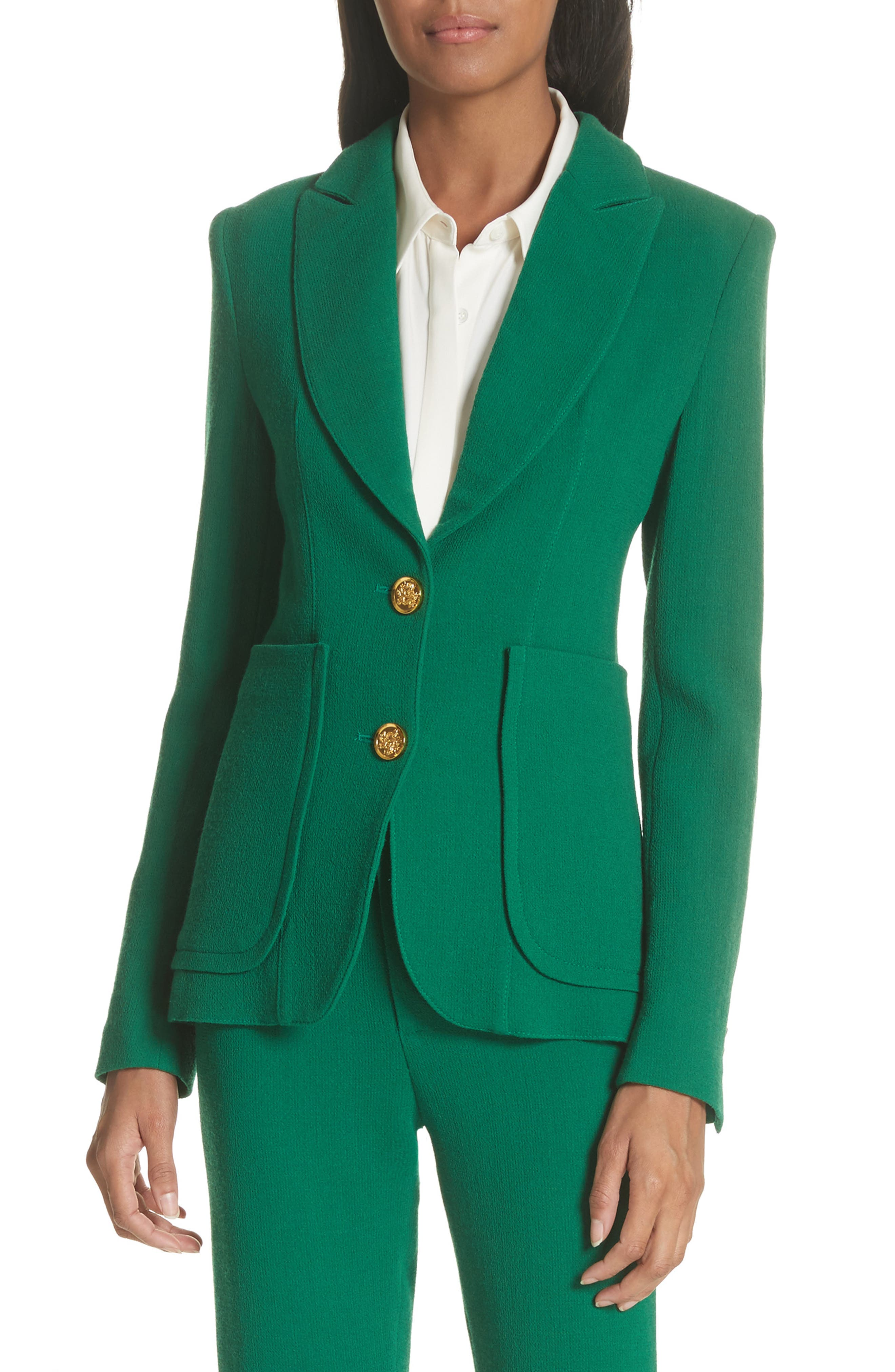 Wool Blazer,                         Main,                         color, Kelly Green
