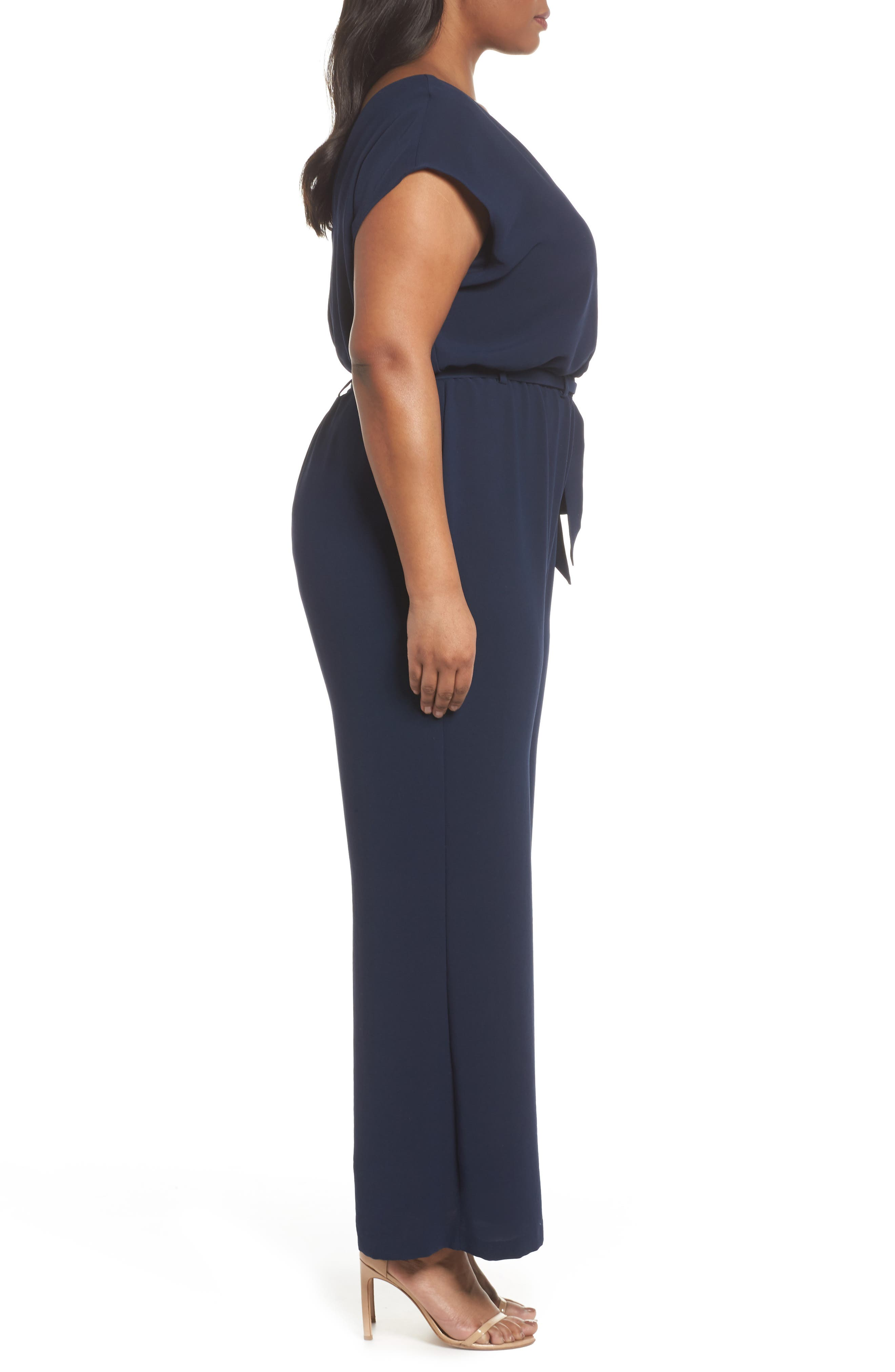 Alternate Image 2  - Adrianna Papell Crepe Belted Jumpsuit (Plus Size)