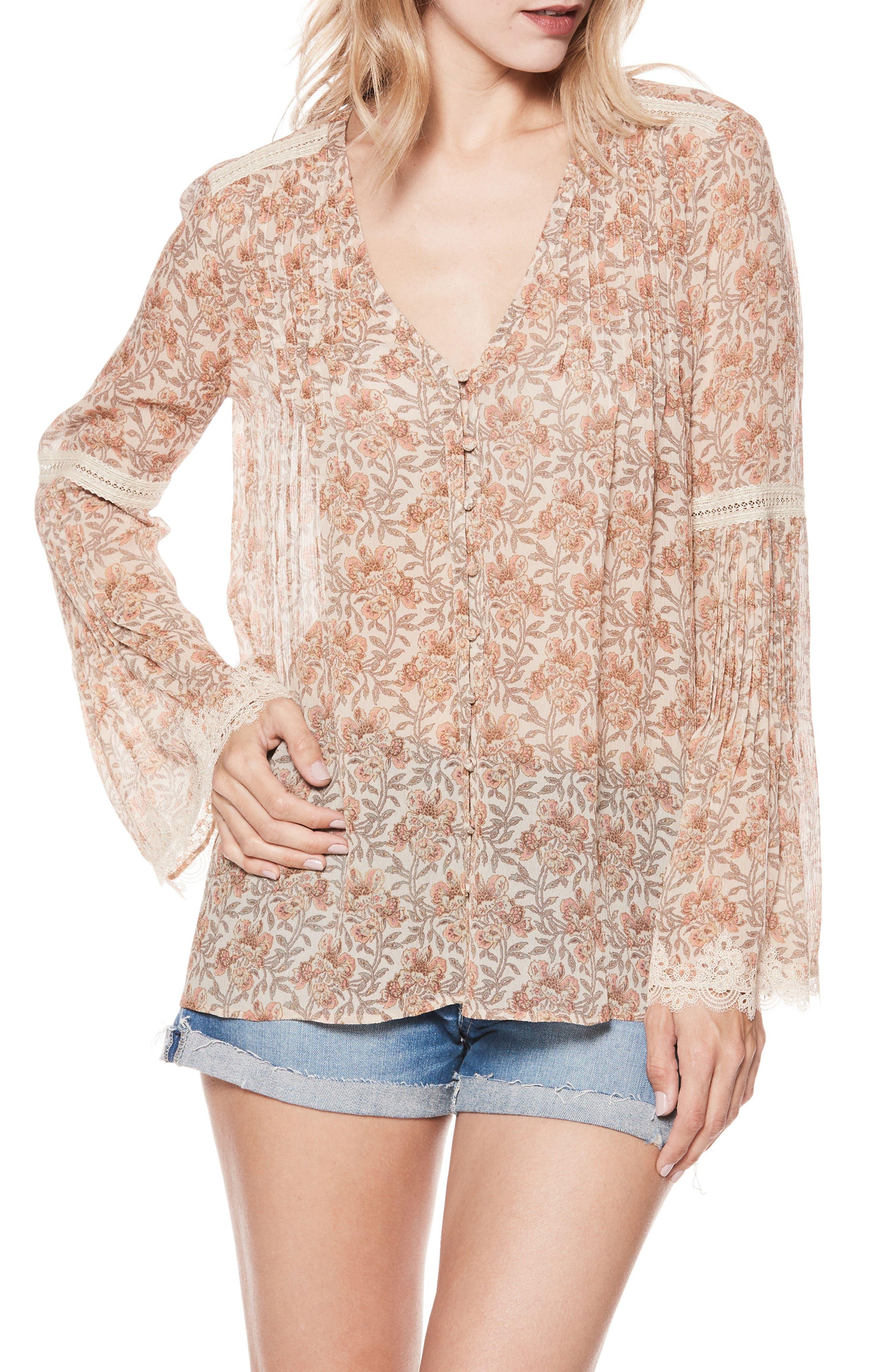 Clio Silk Blouse,                             Main thumbnail 1, color,                             Desert Sunrise Floral