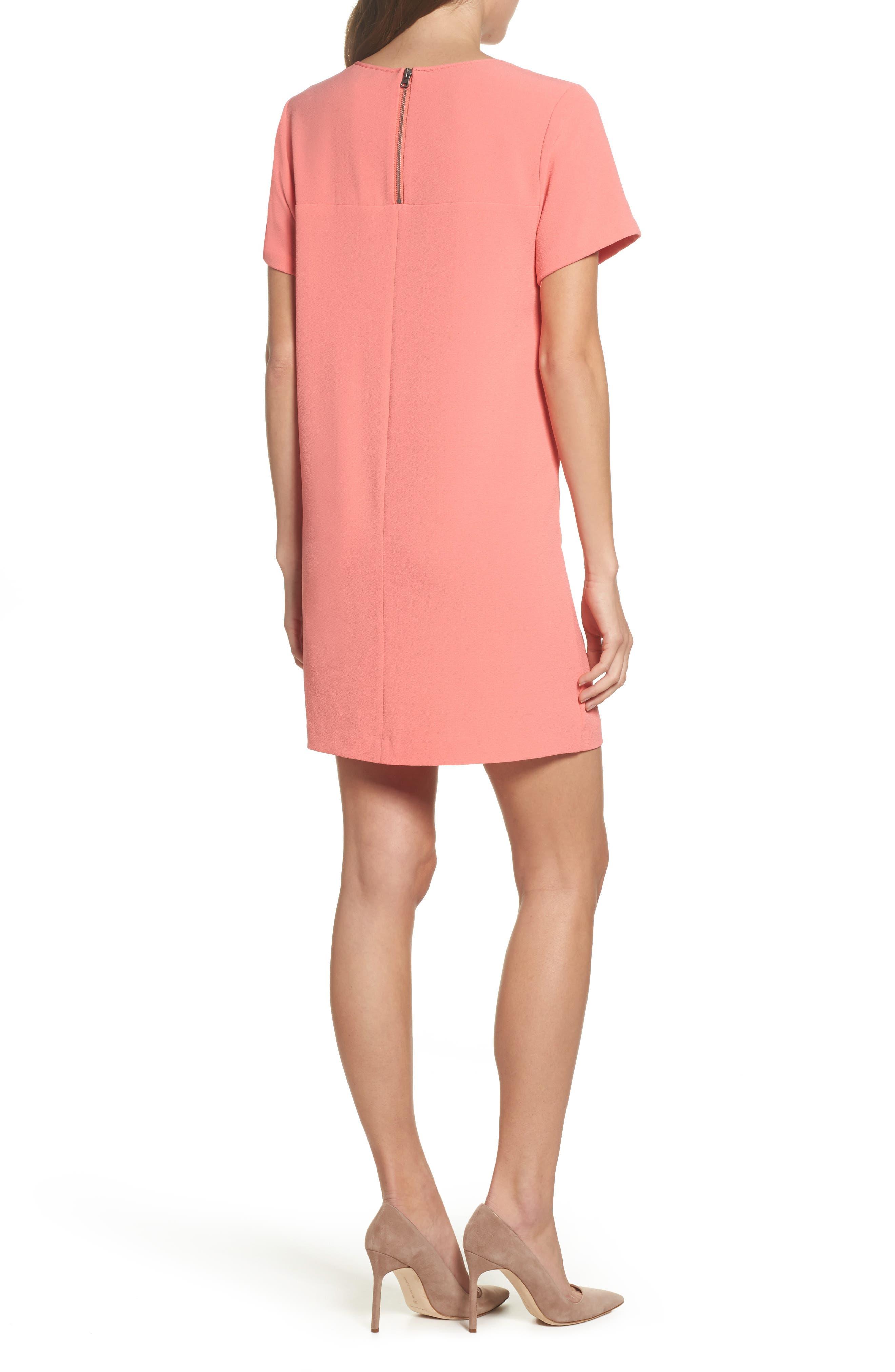 Devery Crepe Shift Dress,                             Alternate thumbnail 2, color,                             Sugar Coral